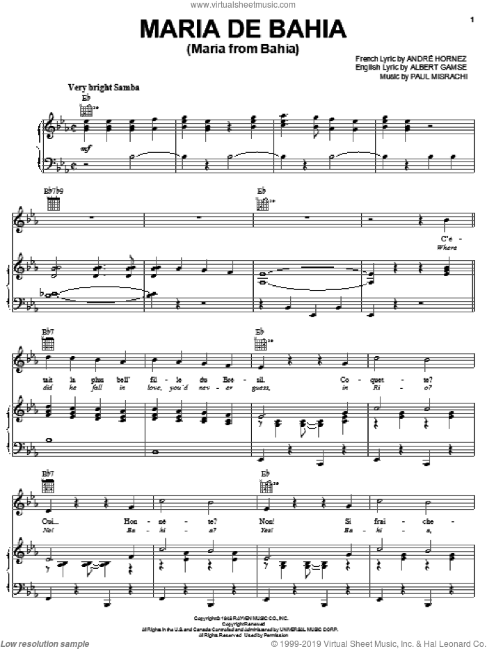 Maria De Bahia (Maria From Bahia) sheet music for voice, piano or guitar by Albert Gamse. Score Image Preview.