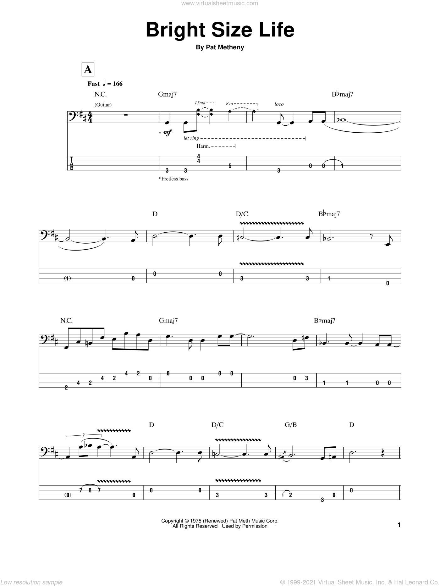 Bright Size Life sheet music for bass (tablature) (bass guitar) by Pat Metheny. Score Image Preview.