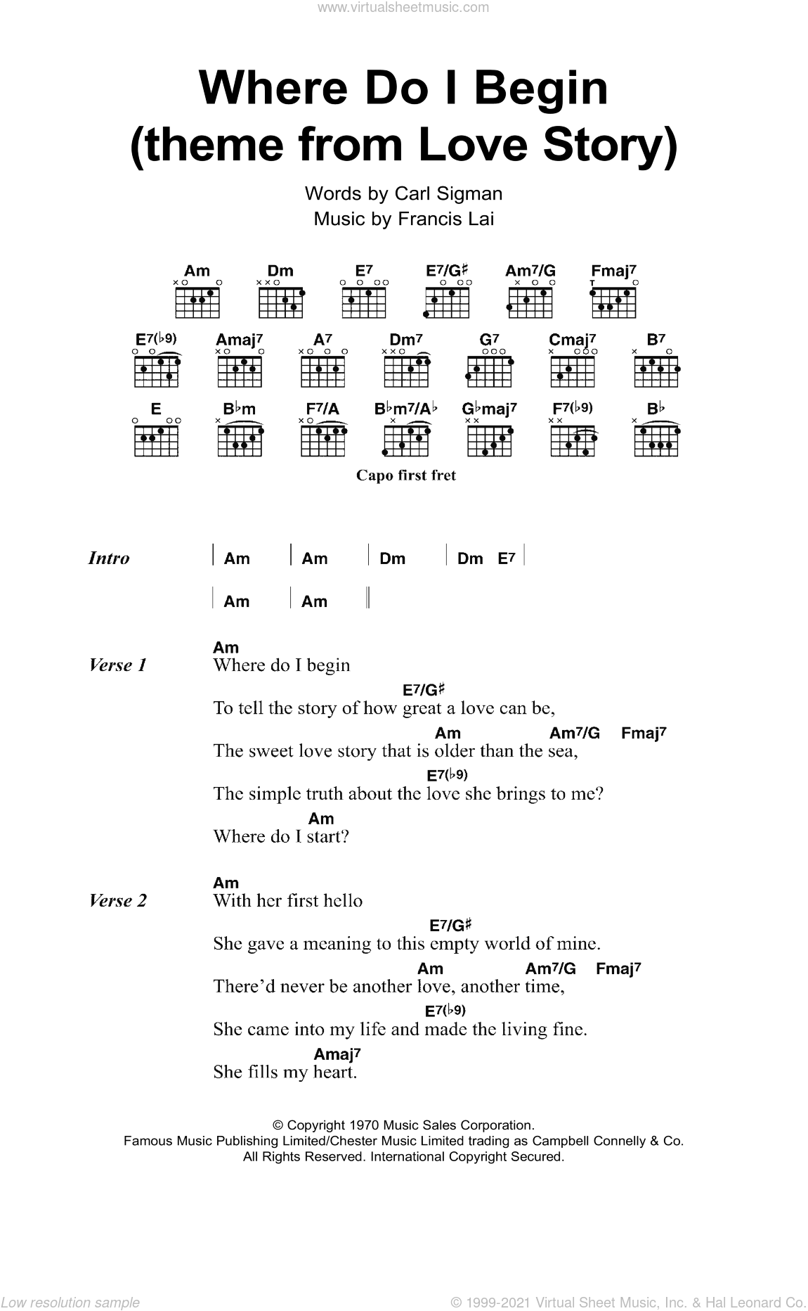 Williams - Where Do I Begin (theme from Love Story) sheet music for guitar (chords)