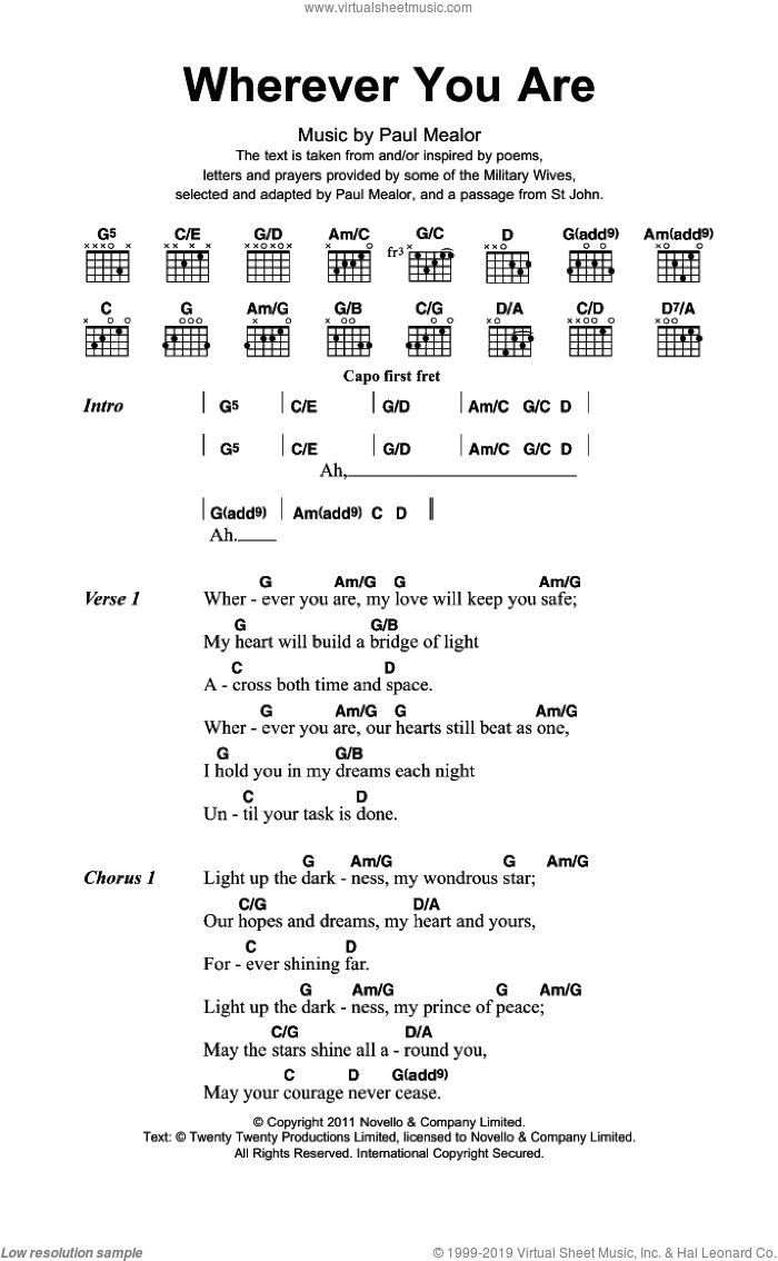 Wherever You Are sheet music for guitar (chords) by Paul Mealor, intermediate skill level
