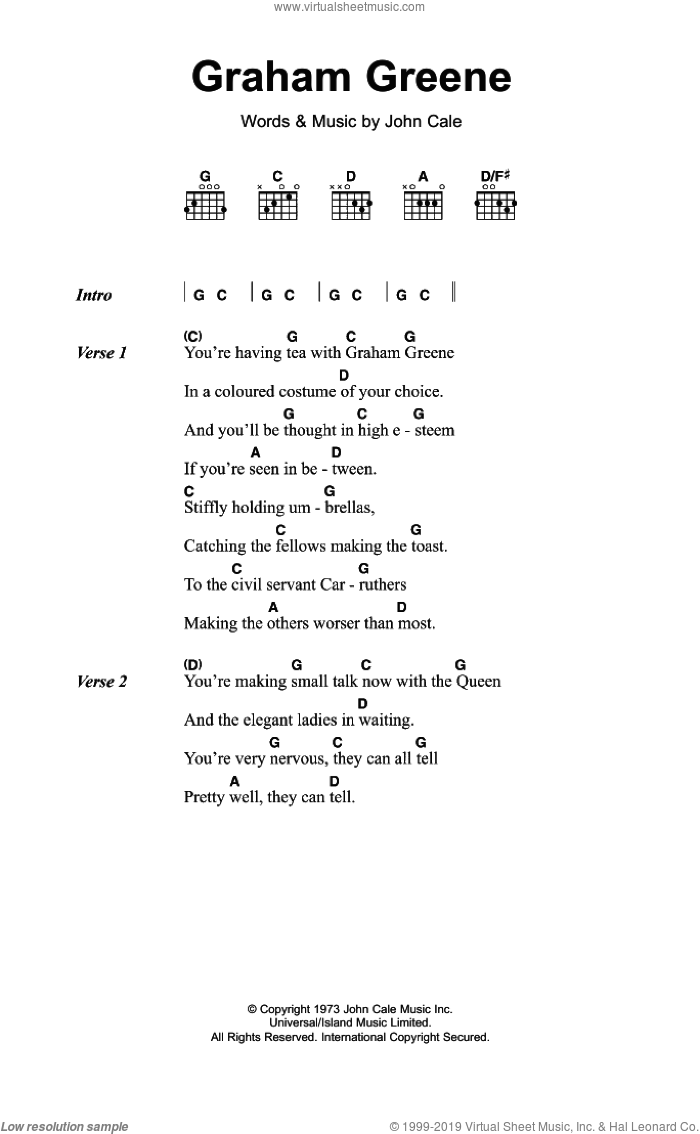 Graham Greene sheet music for guitar (chords) by John Cale. Score Image Preview.