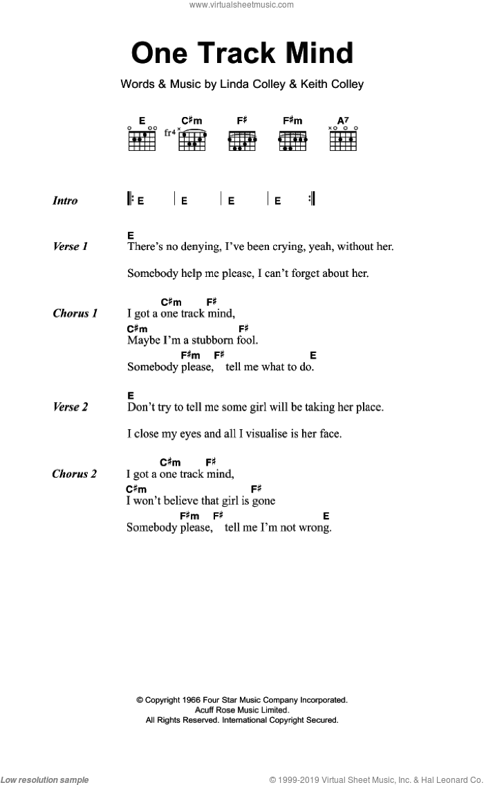 One Track Mind sheet music for guitar (chords) by Keith Colley. Score Image Preview.