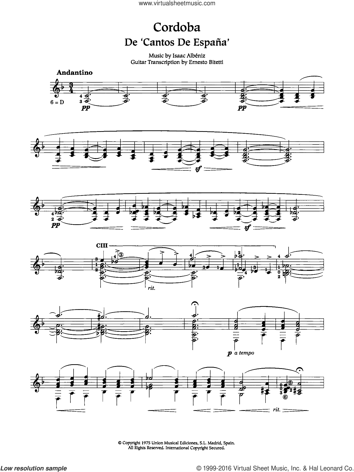 Cordoba sheet music for guitar solo (chords) by Isaac Albeniz, classical score, easy guitar (chords)
