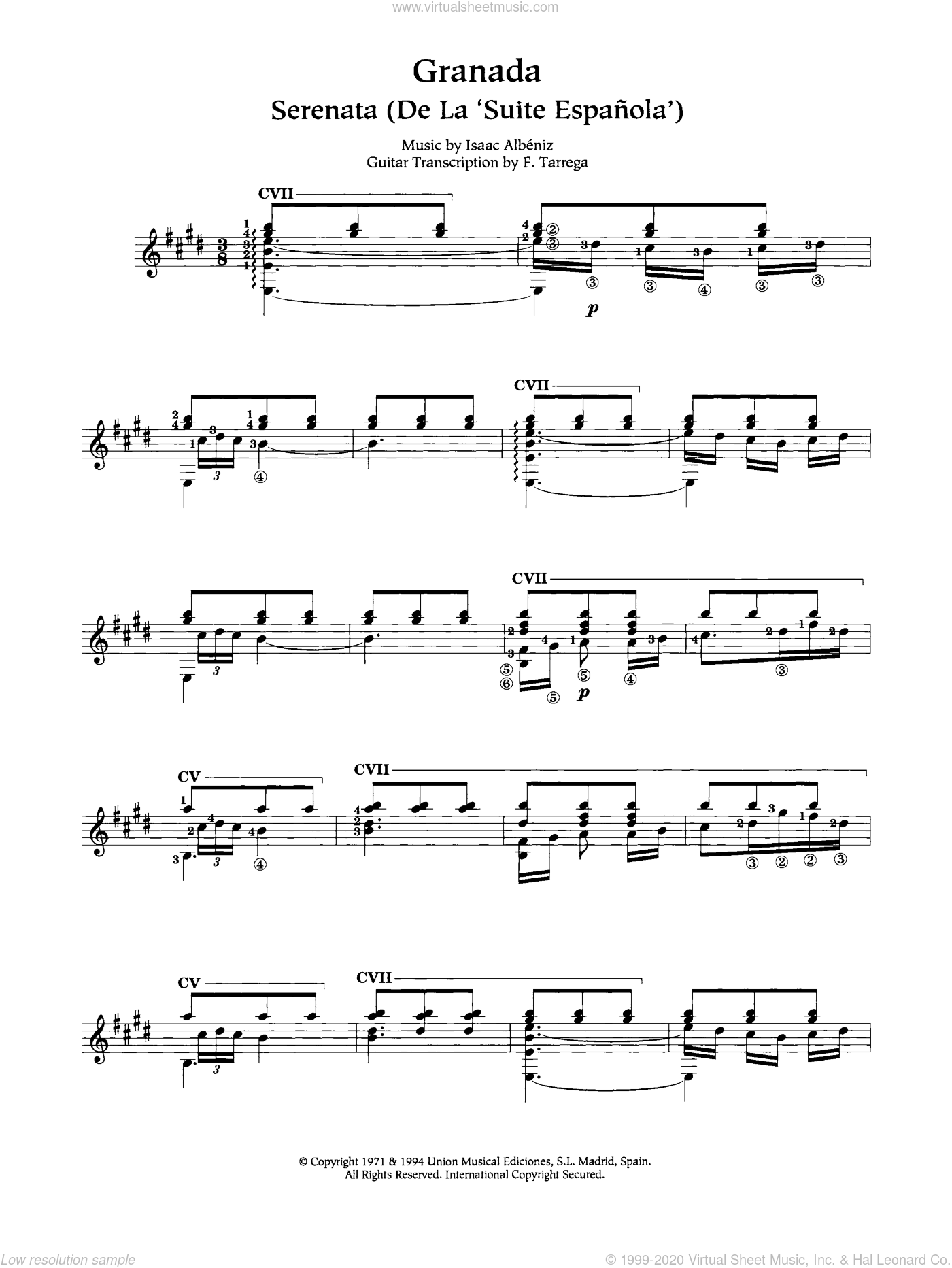 Granada sheet music for guitar solo (chords) by Isaac Albeniz, classical score, easy guitar (chords). Score Image Preview.
