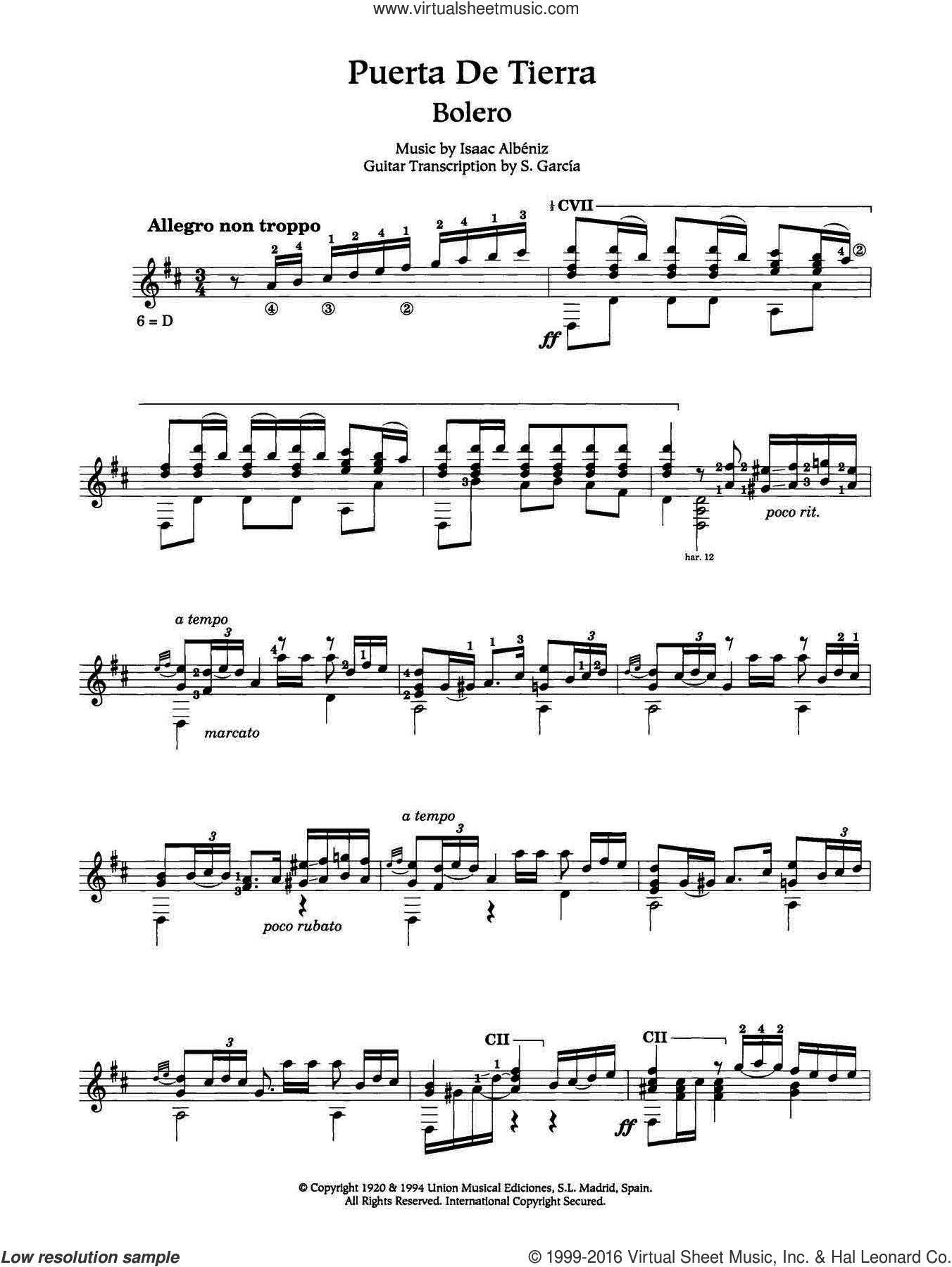 Puerta De Tierra sheet music for guitar solo (chords) by Isaac Albeniz. Score Image Preview.