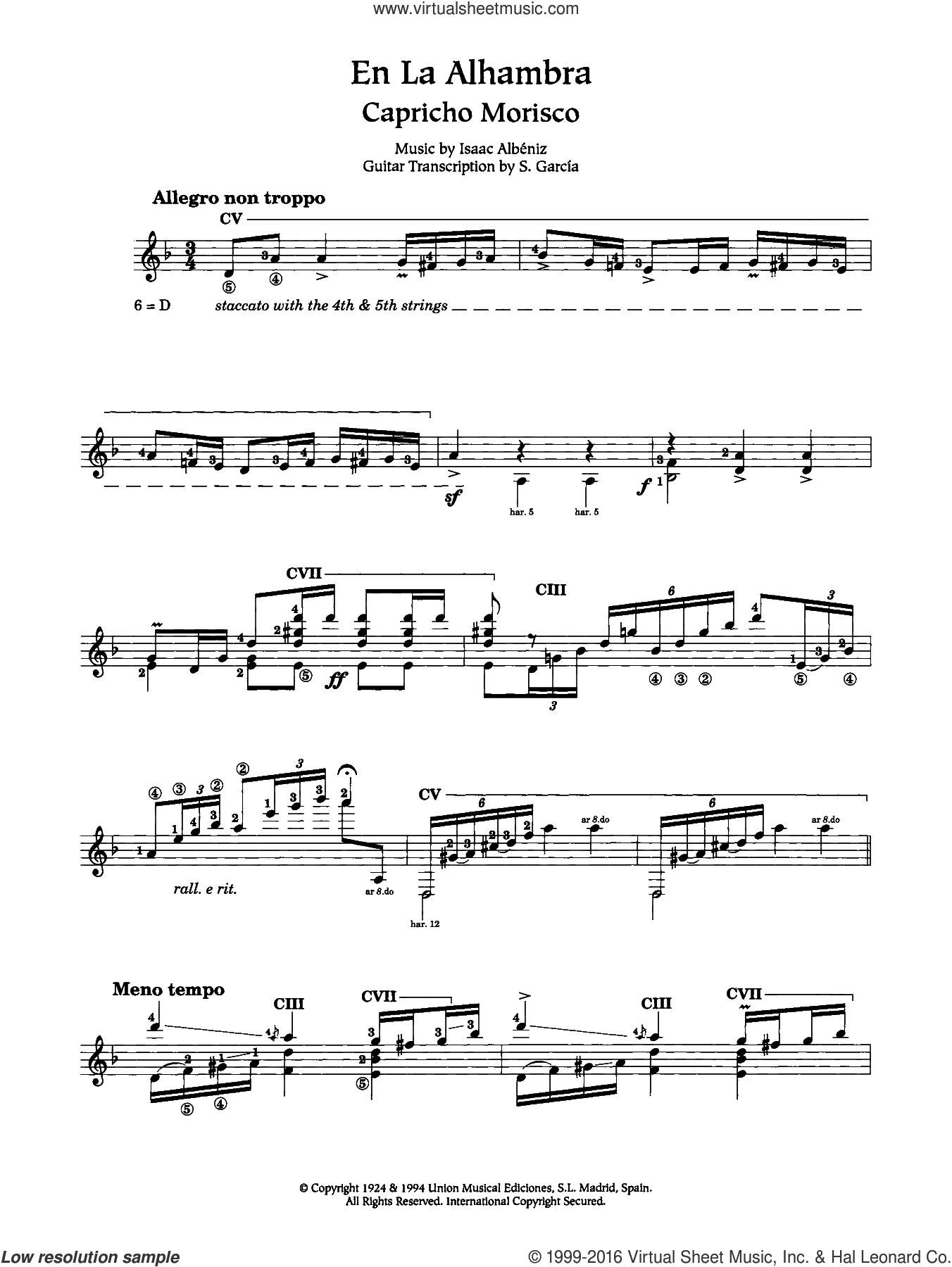 En La Alhambra (Capricho Morisco) sheet music for guitar solo (chords) by Isaac Albeniz, classical score, easy guitar (chords). Score Image Preview.