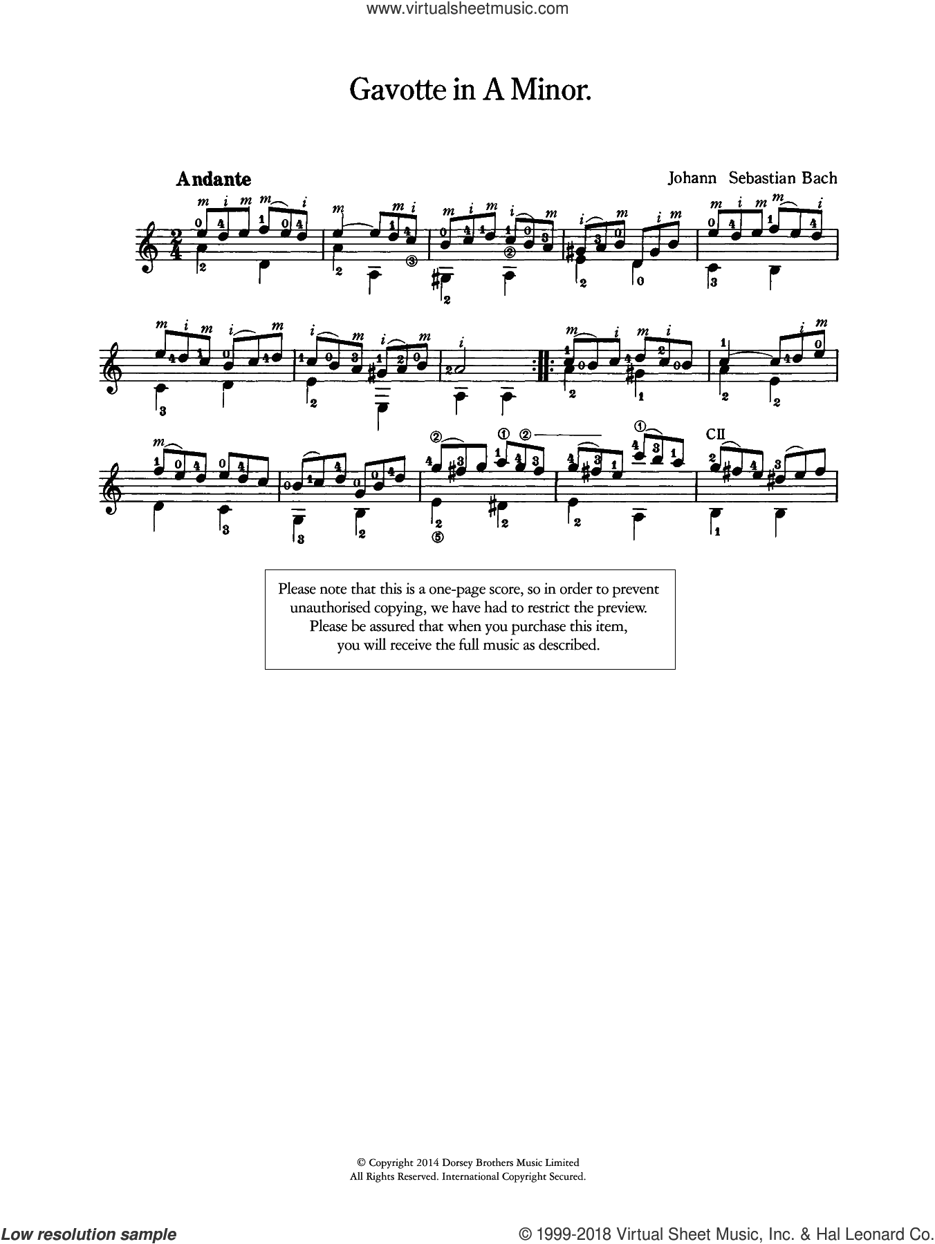 Gavotte in A Minor sheet music for guitar solo by Johann Sebastian Bach, classical score, intermediate. Score Image Preview.