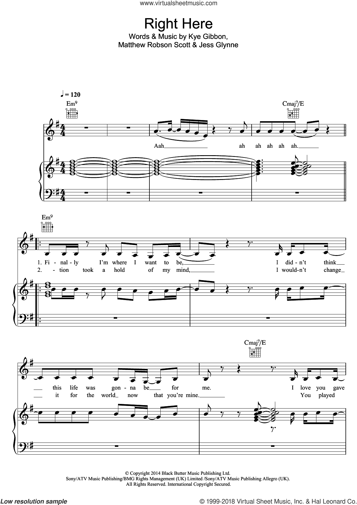 Right Here sheet music for voice, piano or guitar by Jess Glynne, Kye Gibbon and Matthew Robson Scott, intermediate skill level