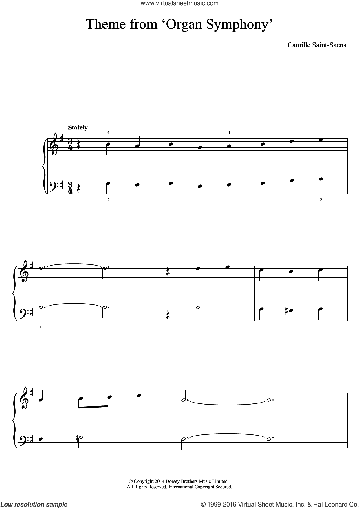 'Organ' Symphony (Theme) sheet music for piano solo by Camille Saint-Saens. Score Image Preview.