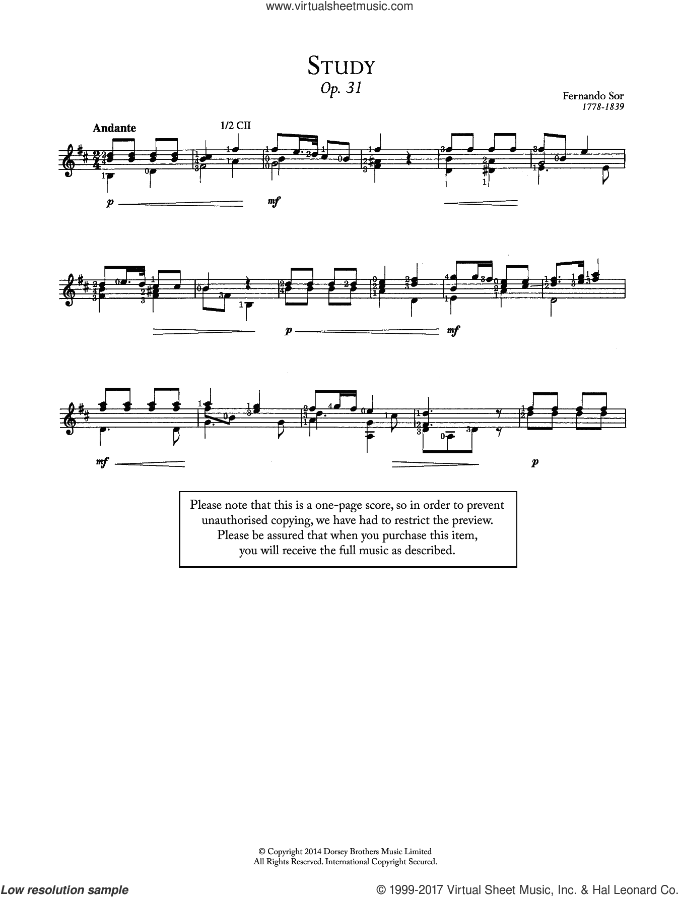 Study, Op.31 sheet music for guitar solo (chords) by Fernando Sor, classical score, easy guitar (chords)