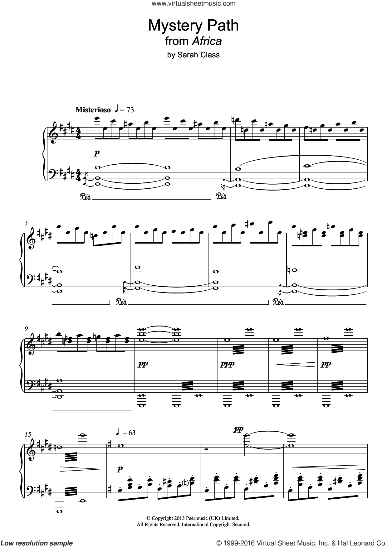 Mystery Path sheet music for piano solo by Sarah Class, intermediate piano. Score Image Preview.
