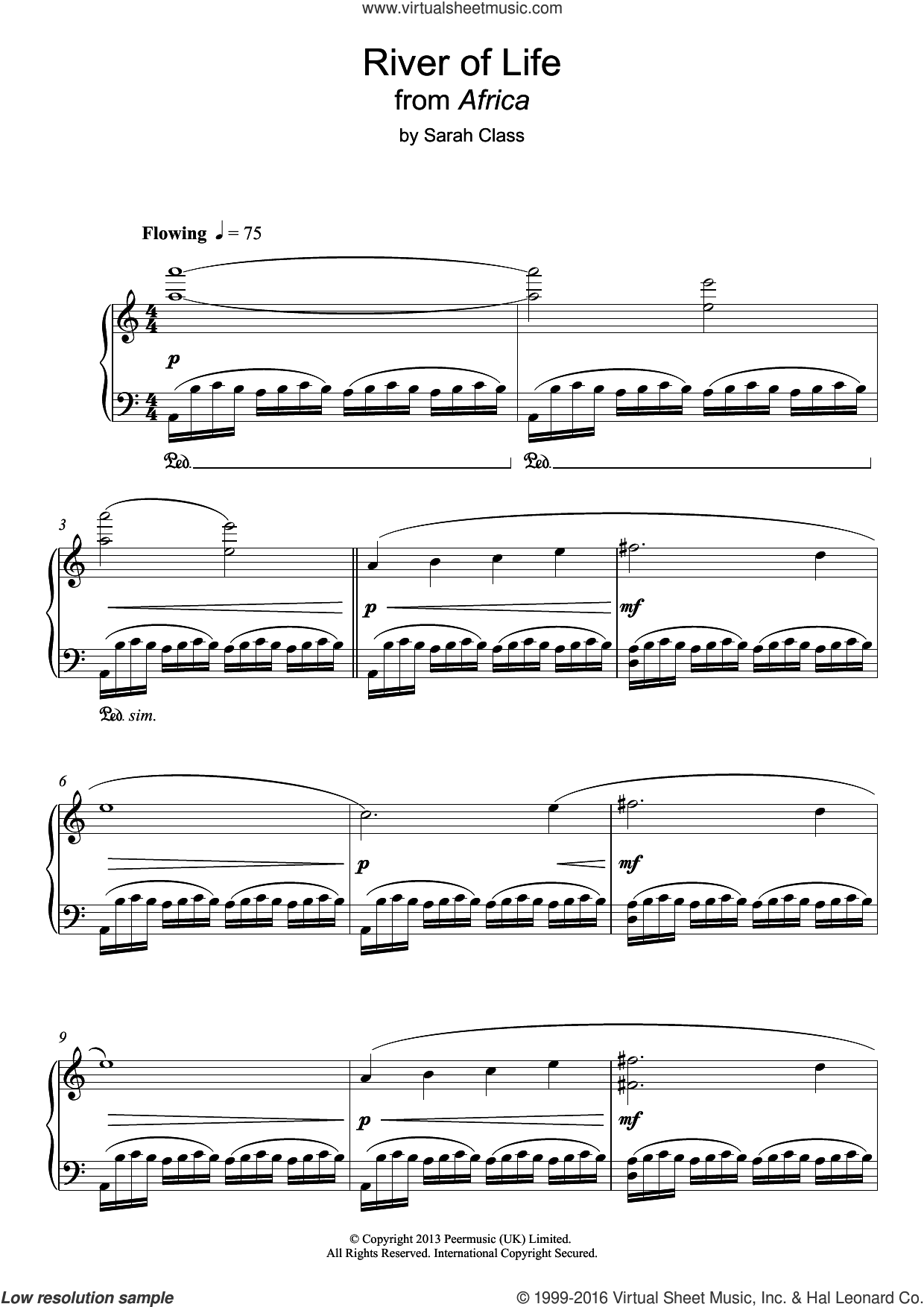 River Of Life sheet music for piano solo by Sarah Class. Score Image Preview.