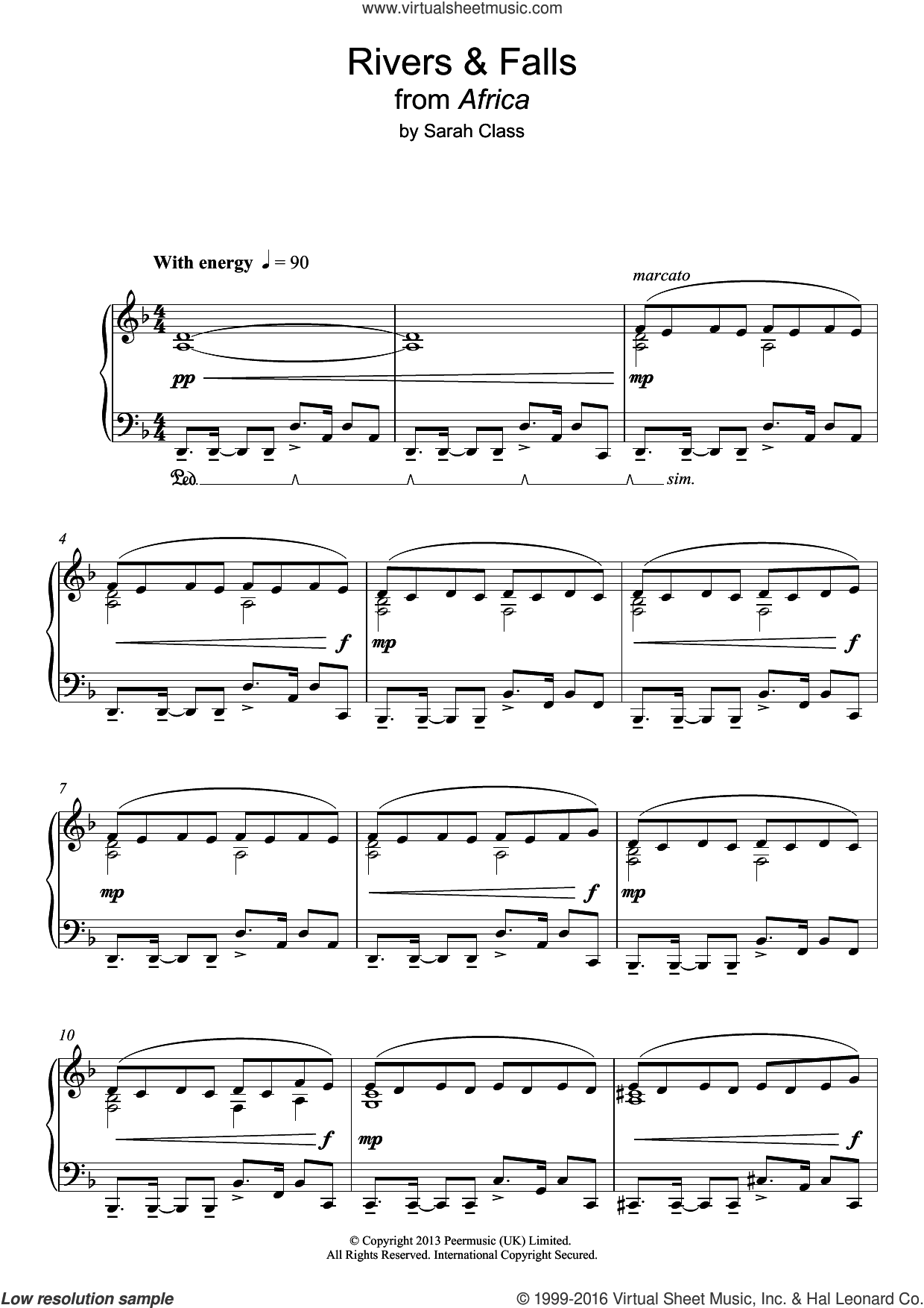 River and Falls sheet music for piano solo by Sarah Class. Score Image Preview.