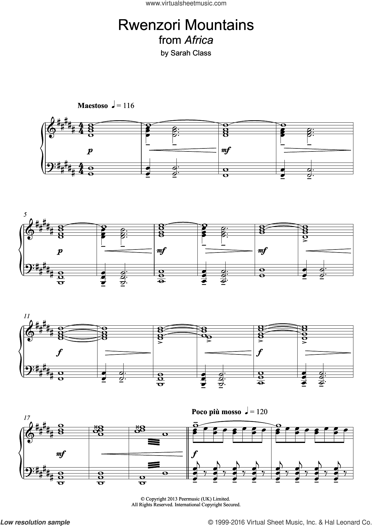 Rwenzori Mountains sheet music for piano solo by Sarah Class, intermediate skill level