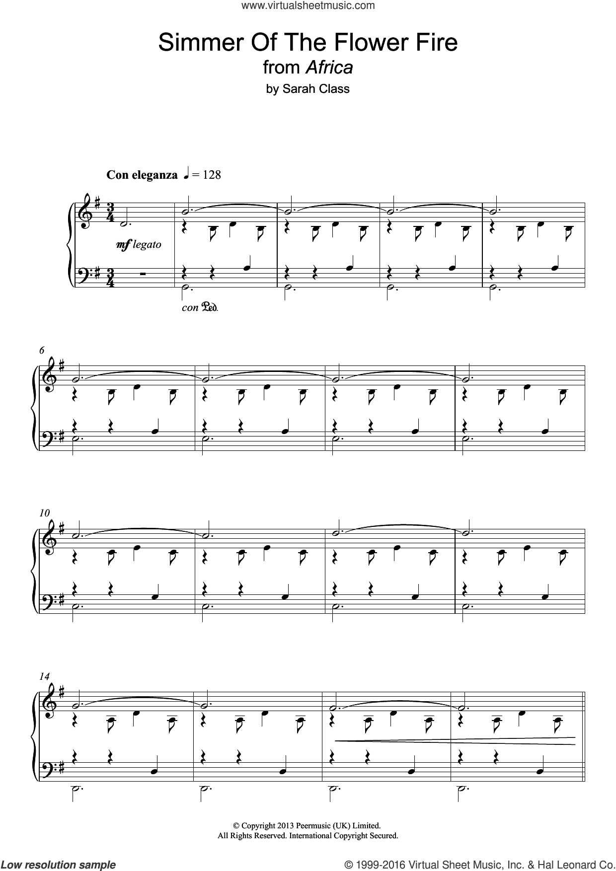 Simmer Of The Flower Fire sheet music for piano solo by Sarah Class. Score Image Preview.