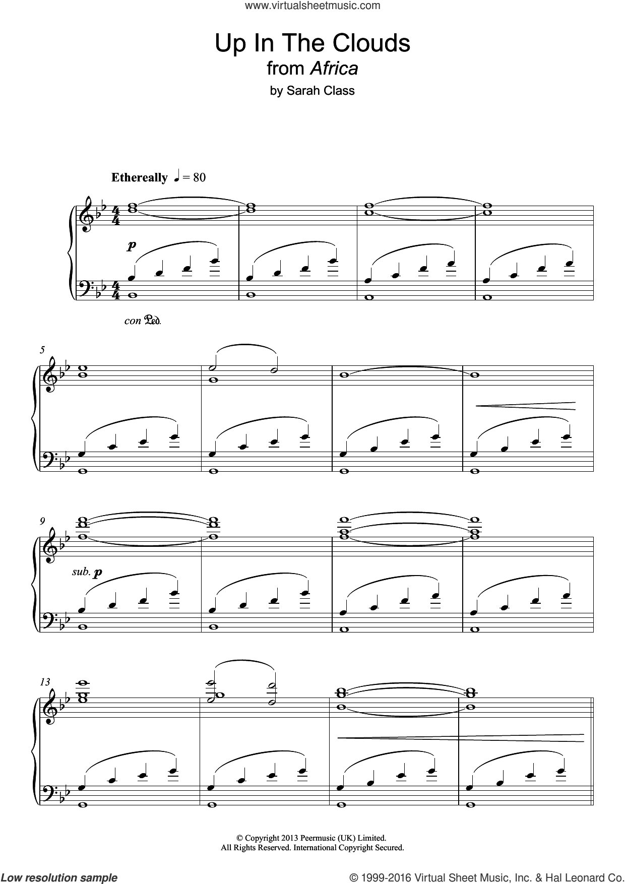 Up In The Clouds sheet music for piano solo by Sarah Class. Score Image Preview.