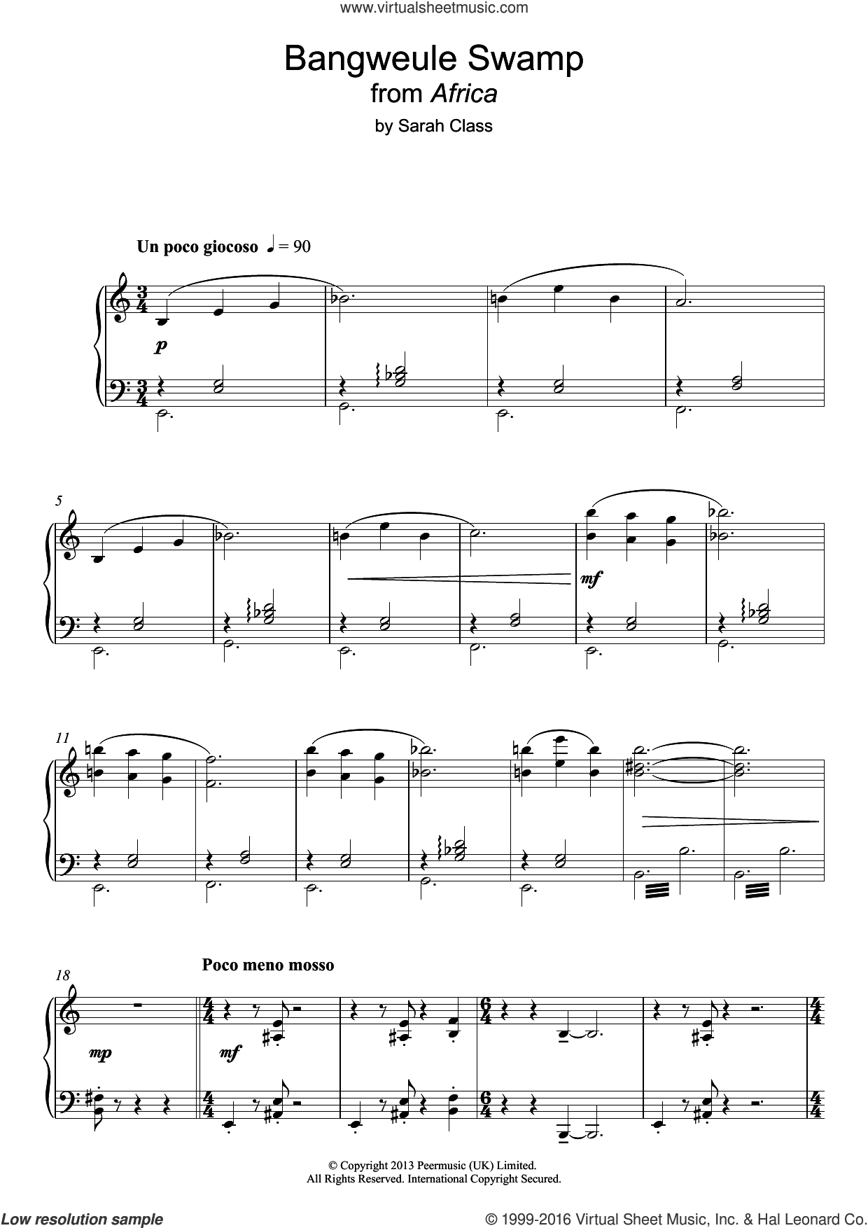 Bangweule Swamp (from 'Africa') sheet music for piano solo by Sarah Class, intermediate skill level