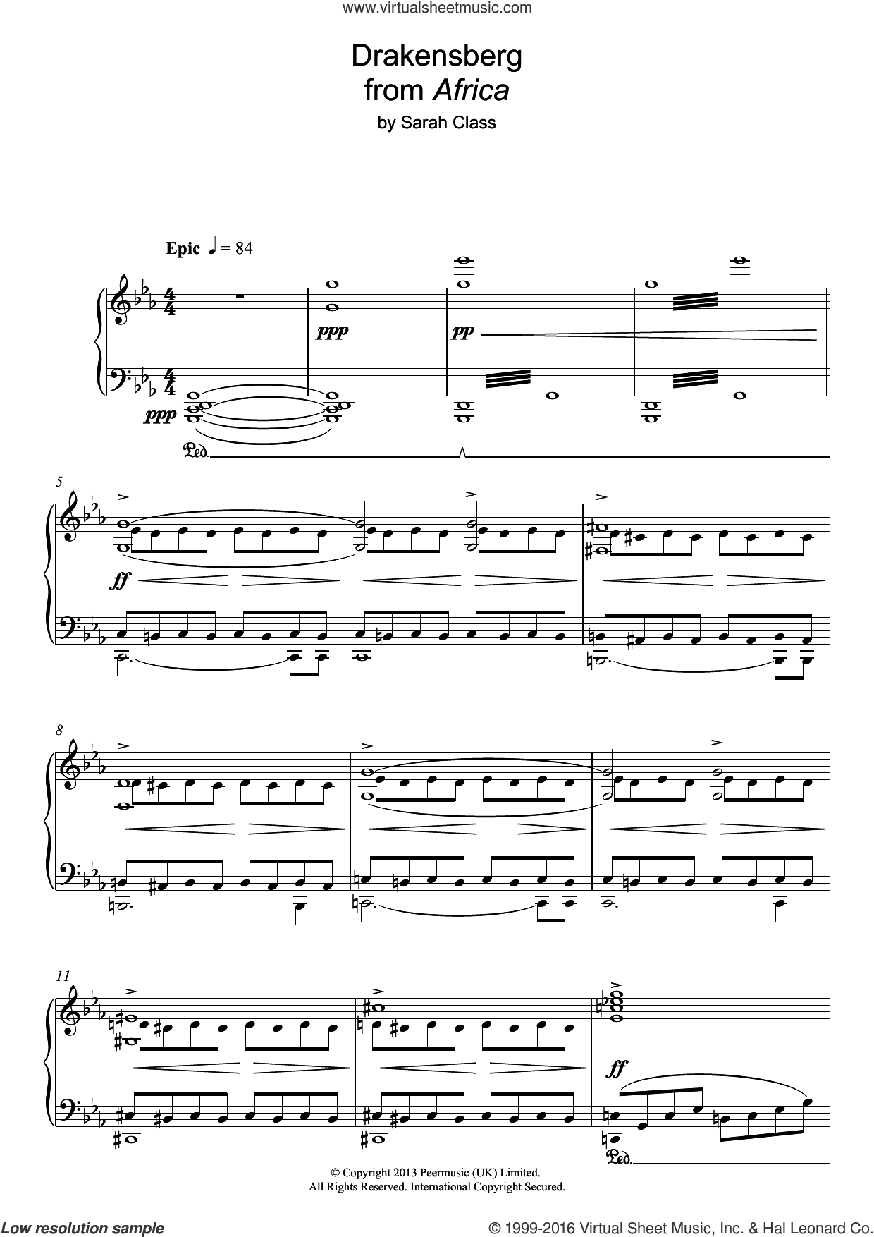 Draconsberg (from 'Africa') sheet music for piano solo by Sarah Class. Score Image Preview.