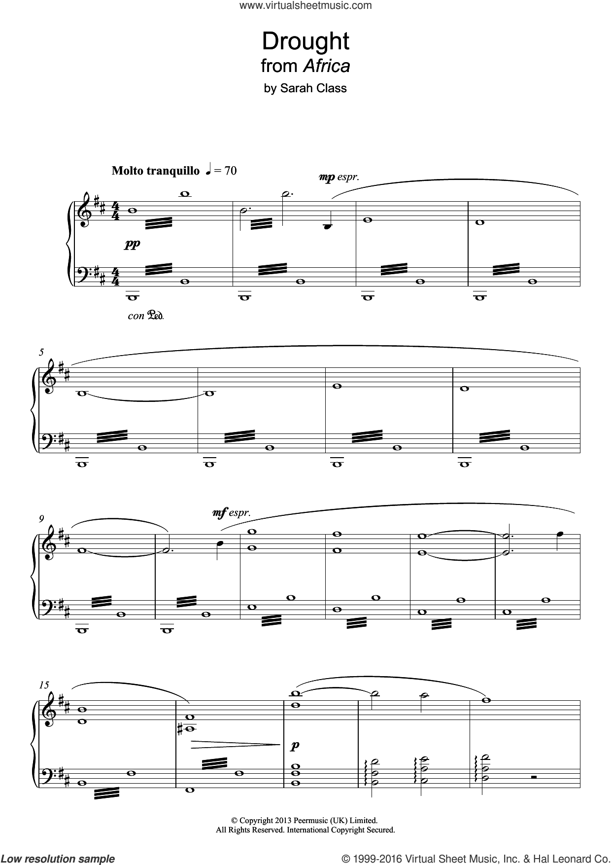 Drought (from 'Africa') sheet music for piano solo by Sarah Class