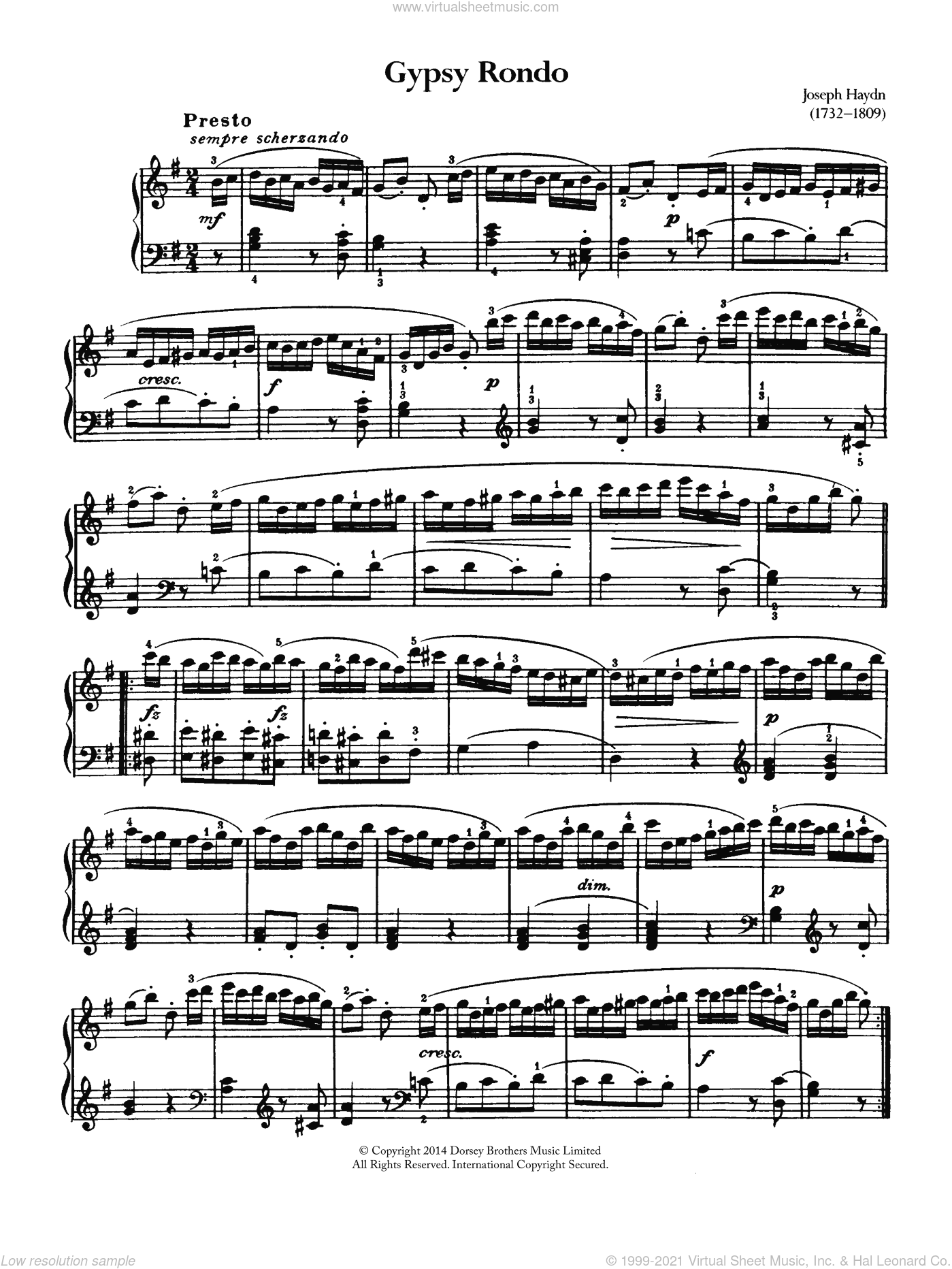 Gypsy Rondo sheet music for piano solo by Franz Joseph Haydn and George Frideric Handel, classical score, intermediate skill level