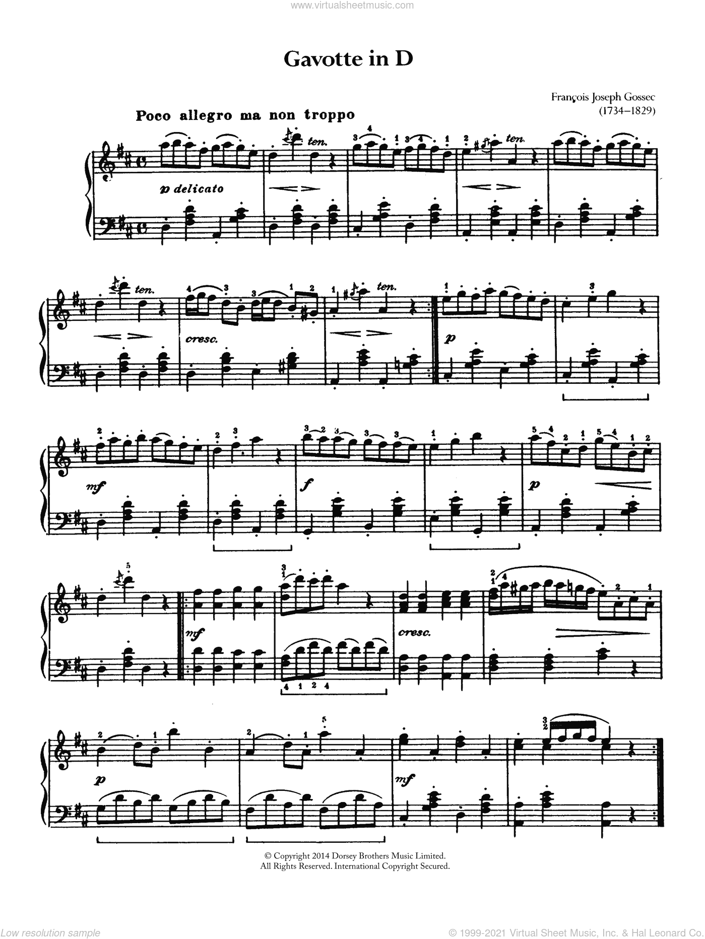 Gavotte sheet music for piano solo by Francois-Joseph Gossec. Score Image Preview.