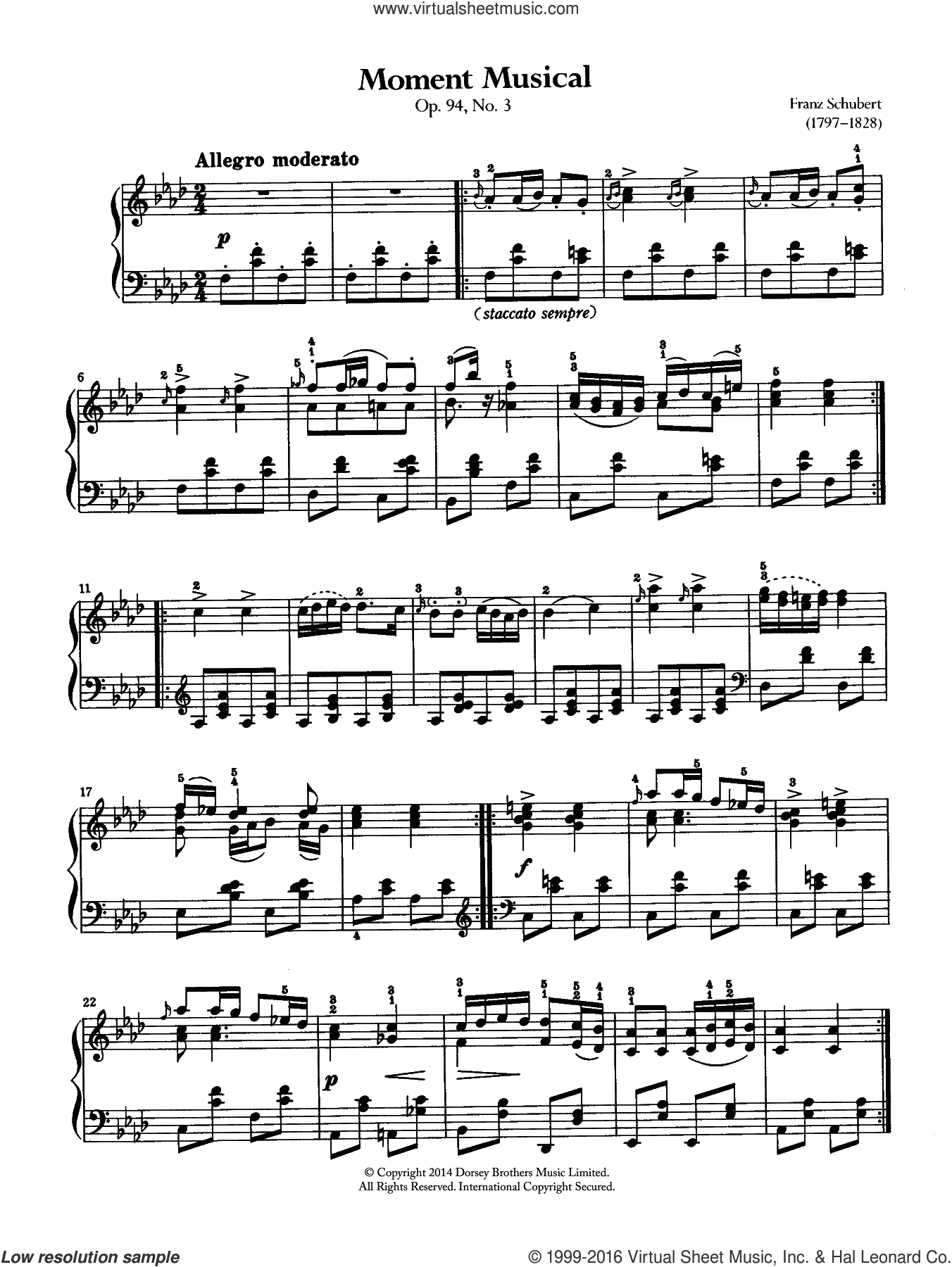 Moment Musical sheet music for piano solo by Franz Schubert. Score Image Preview.