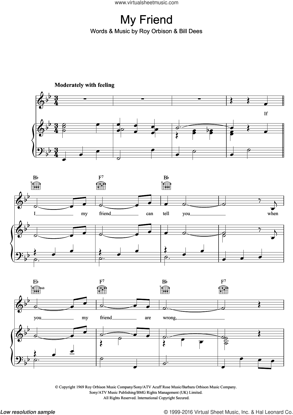 My Friend sheet music for voice, piano or guitar by Roy Orbison and Bill Dees, intermediate skill level