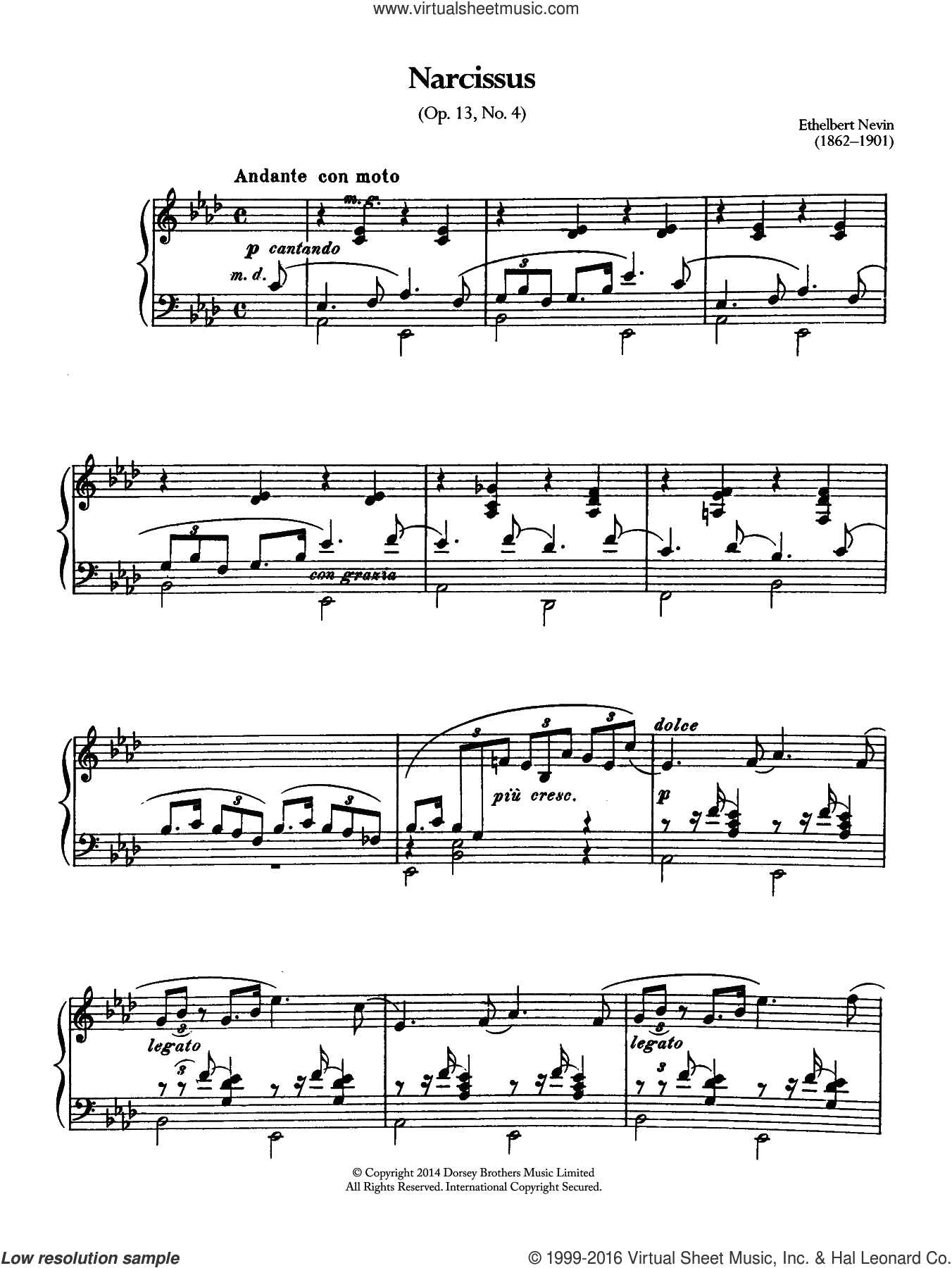 Narcissus (Opus 13 No.4) sheet music for piano solo by Ethelbert Nevin. Score Image Preview.