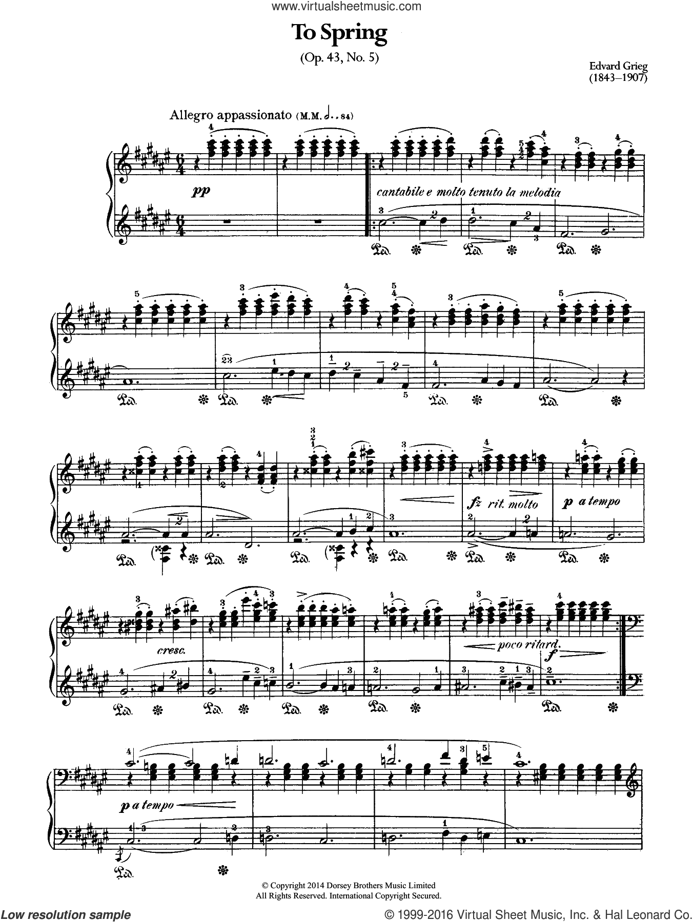 To Spring, Op.43 No.5 sheet music for piano solo by Edward Grieg, classical score, intermediate. Score Image Preview.