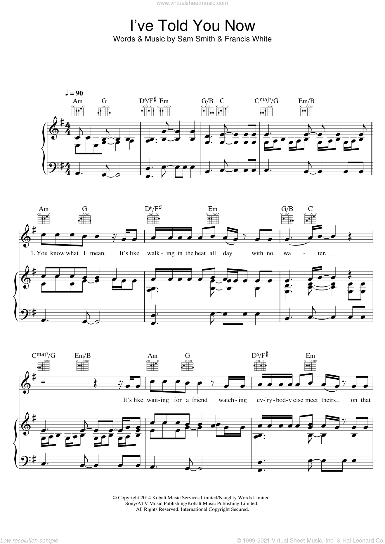 I've Told You Now sheet music for voice, piano or guitar by Sam Smith and Francis White, intermediate. Score Image Preview.