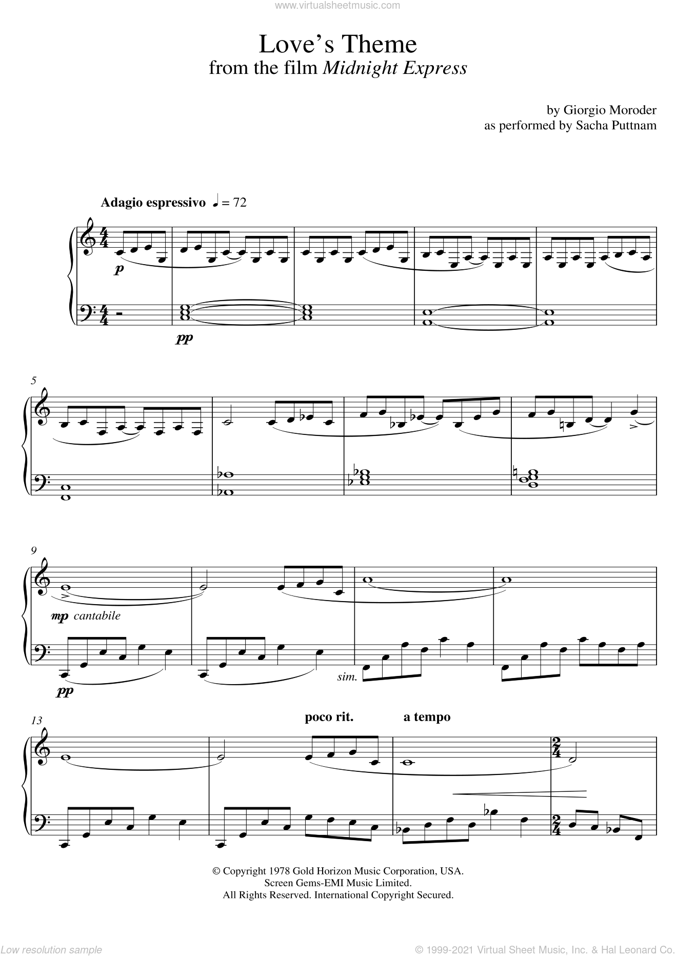 Love's Theme (from Midnight Express) (as performed by Sacha Puttnam) sheet music for piano solo by Giorgio Moroder and Sacha Puttnam. Score Image Preview.