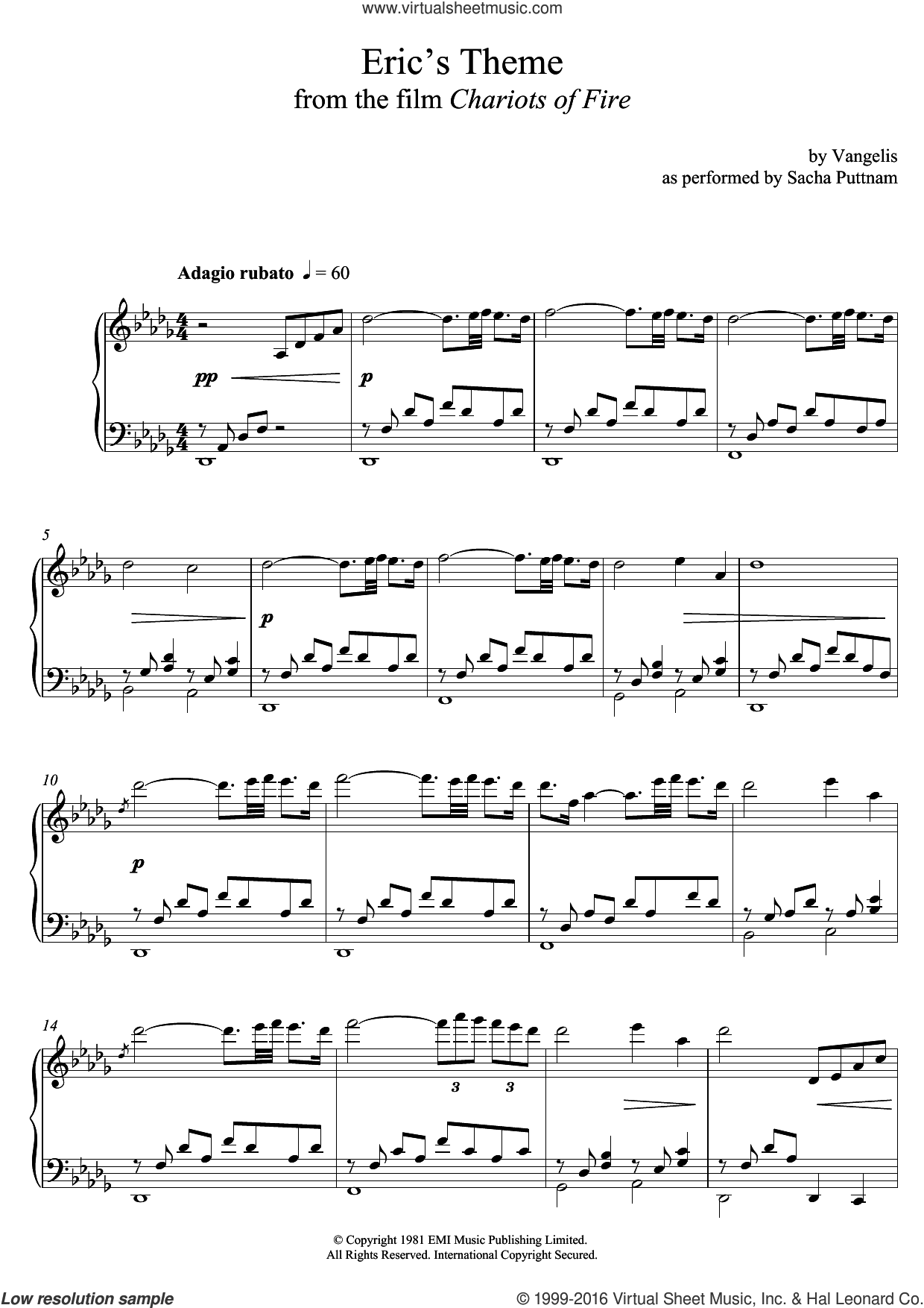 Eric's Theme (from Chariots Of Fire) (as performed by Sacha Puttnam) sheet music for piano solo by Vangelis and Sacha Puttnam. Score Image Preview.