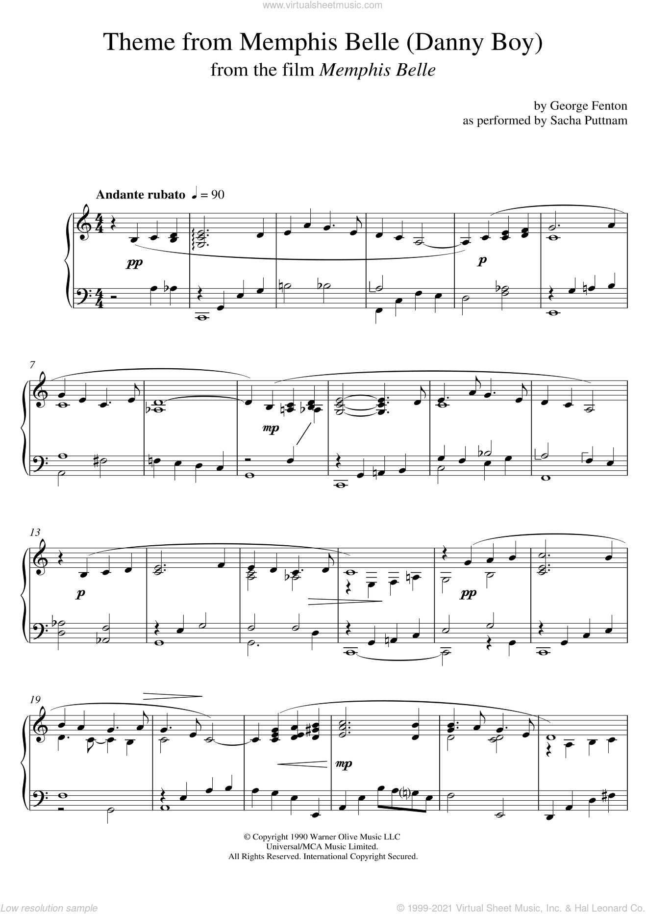 Memphis Belle (Main Title) (as performed by Sacha Puttnam) sheet music for piano solo by George Fenton and Sacha Puttnam, intermediate skill level