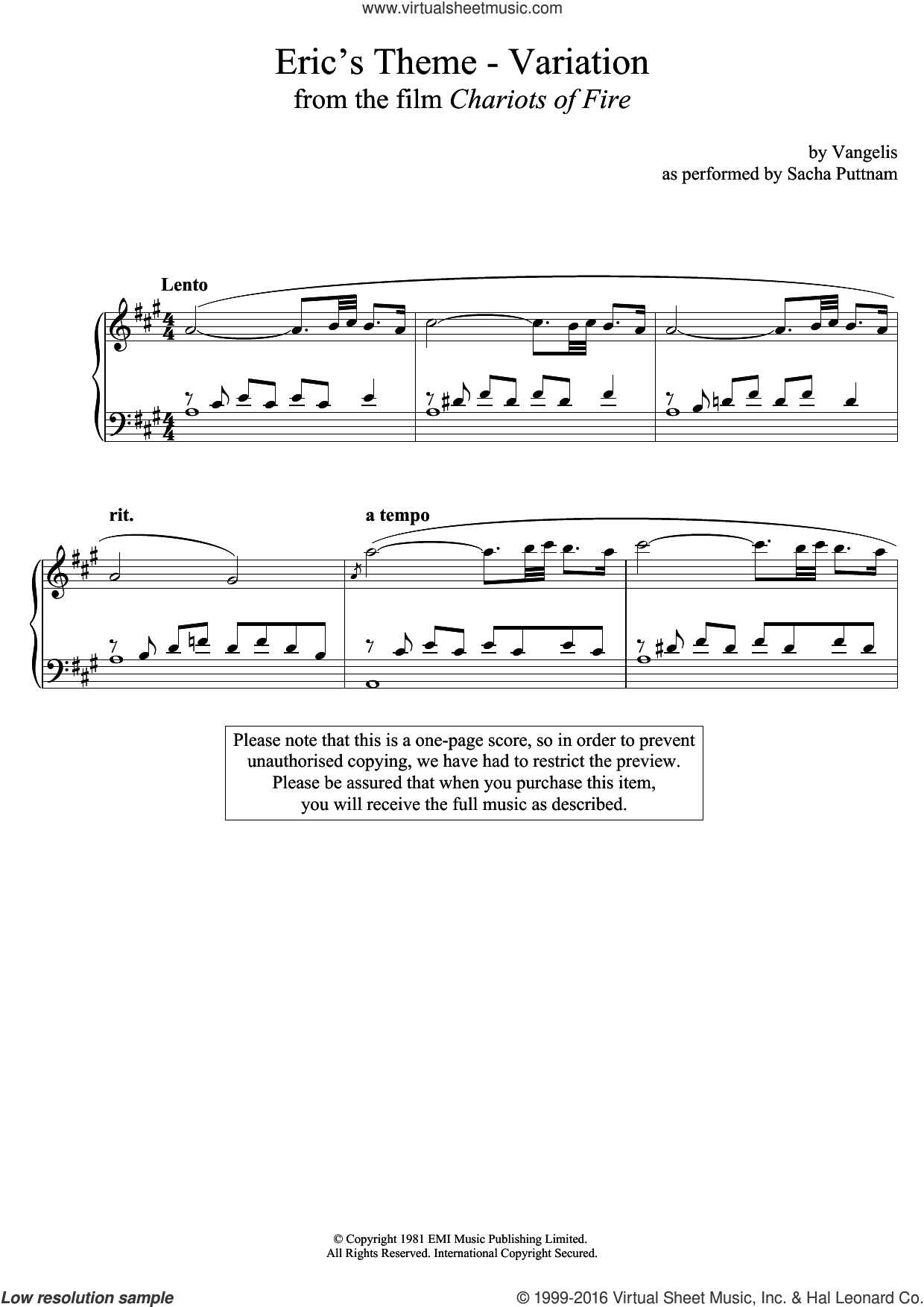 Eric's Theme- Variation (From Chariots Of Fire) (as performed by Sacha Puttnam) sheet music for piano solo by Vangelis and Sacha Puttnam. Score Image Preview.