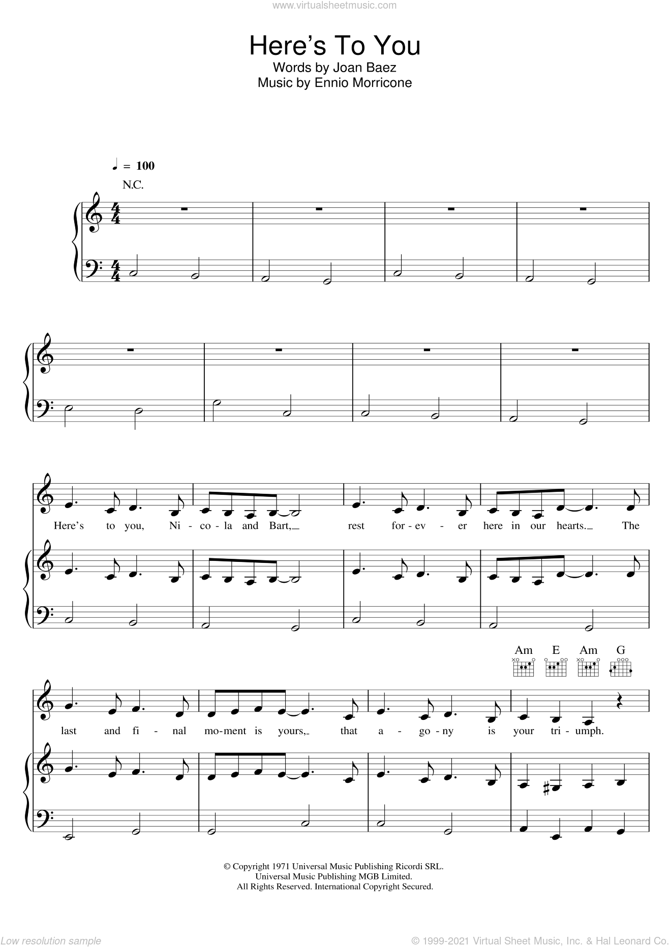 Here's To You sheet music for voice, piano or guitar by Ennio Morricone and Joan Baez. Score Image Preview.