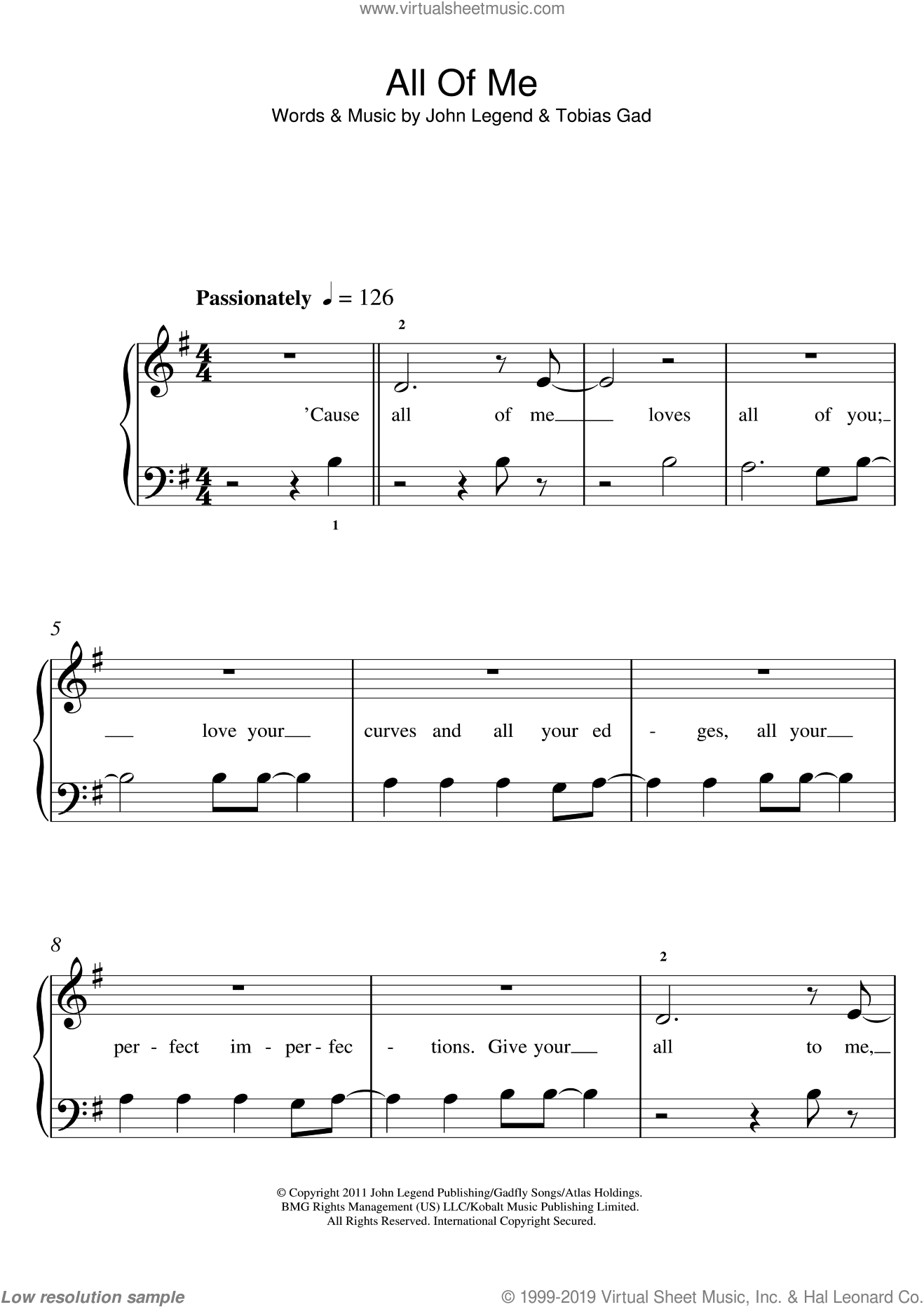 All Of Me sheet music for piano solo (5-fingers) by John Legend and Toby Gad, beginner piano (5-fingers)