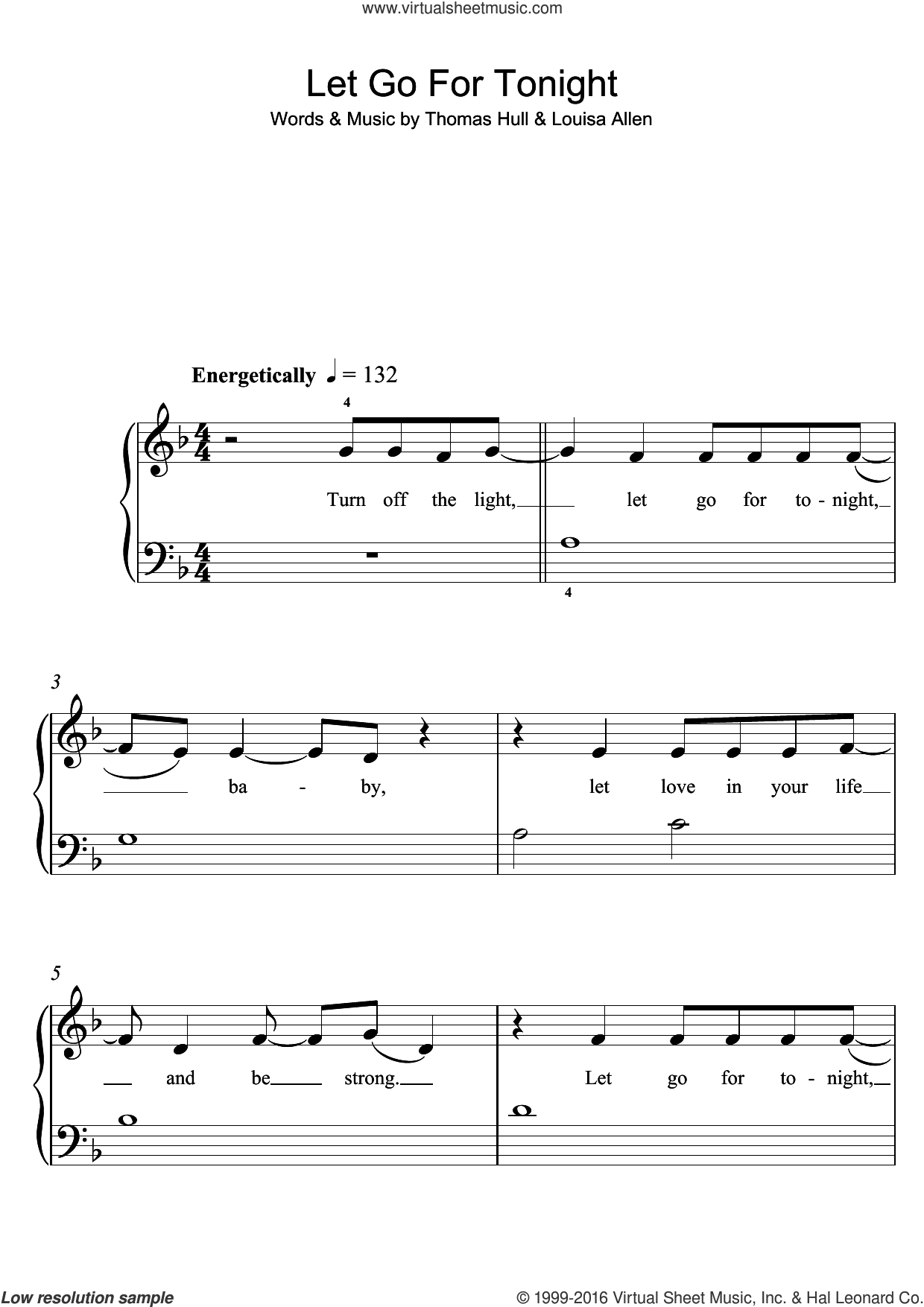 Let Go For Tonight sheet music for piano solo by Foxes, Louisa Allen and Tom Hull, easy skill level