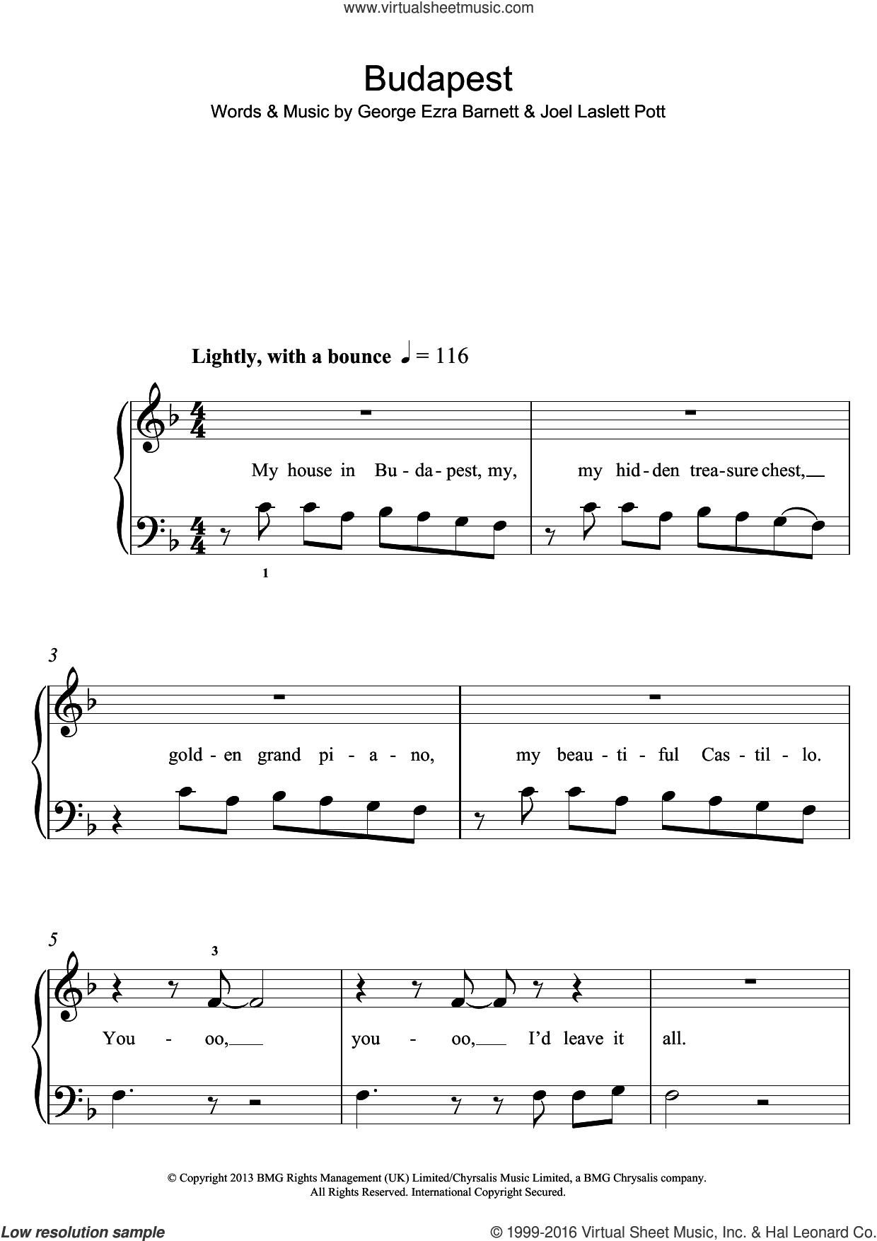 Budapest, (easy) sheet music for piano solo by George Ezra, George Ezra Barnett and Joel Laslett Pott, easy skill level
