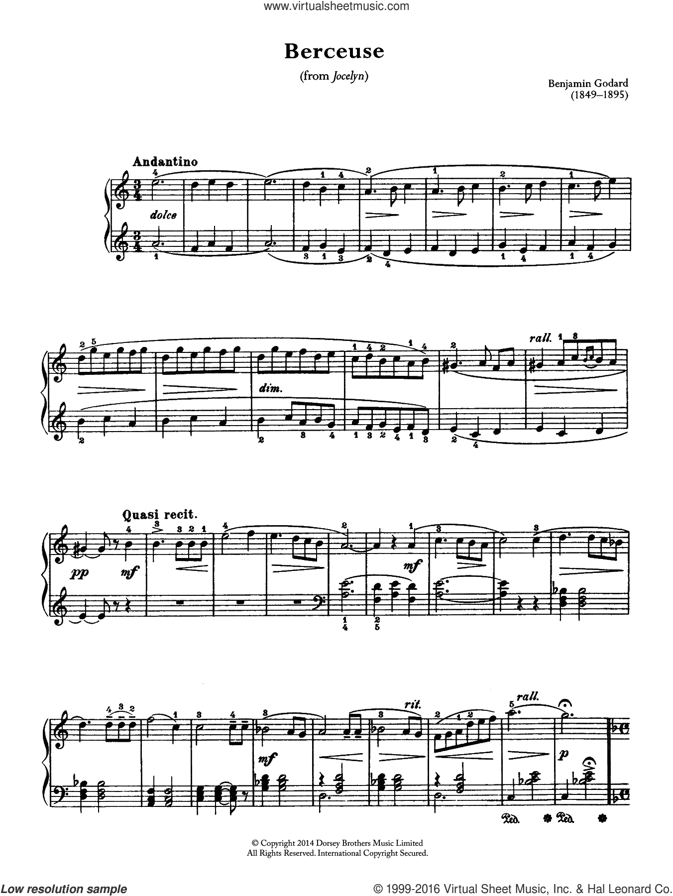 Berceuse (From Jocelyn) sheet music for piano solo by Benjamin Godard. Score Image Preview.