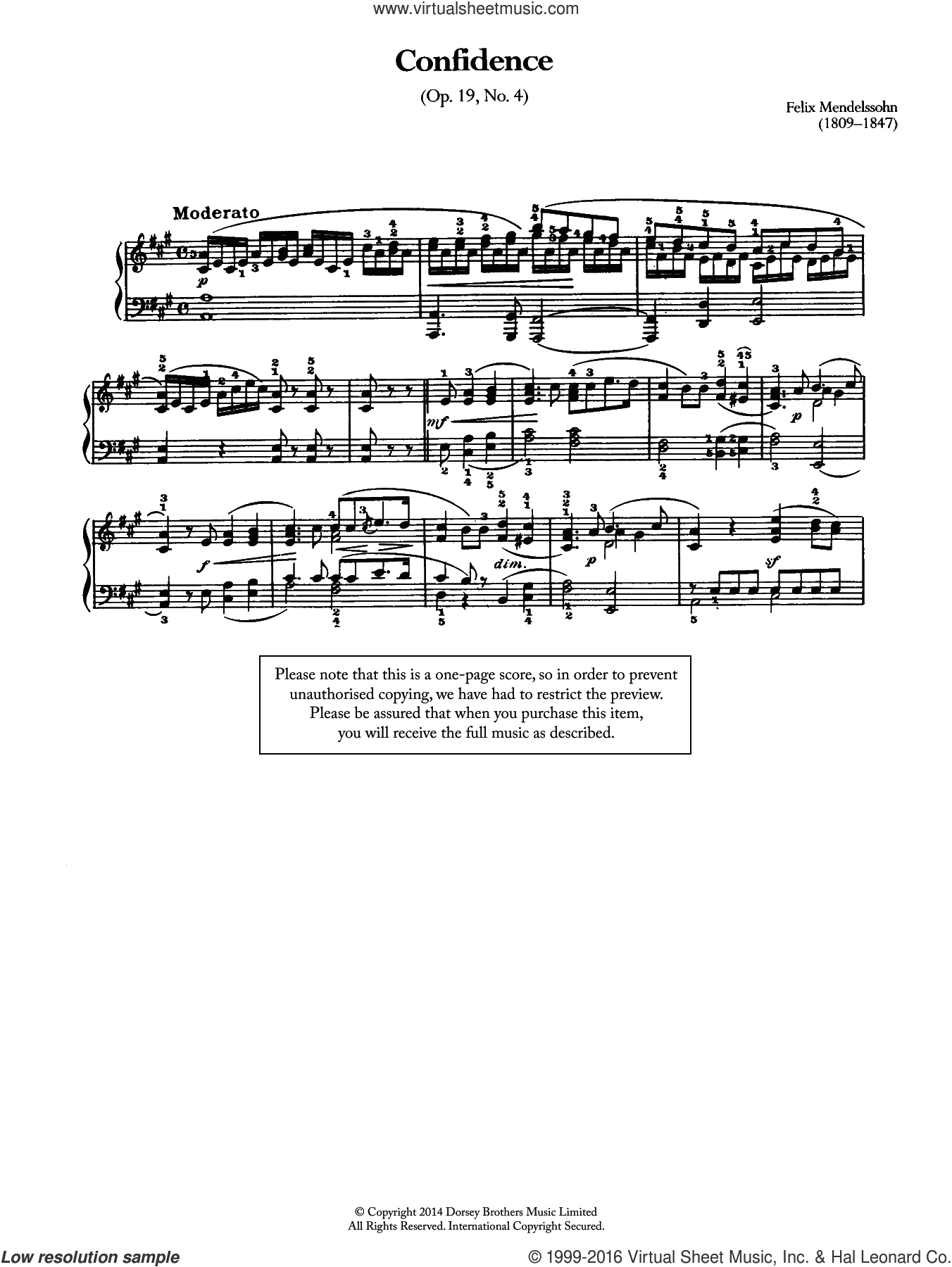 Confidence Op.19, No.4 sheet music for piano solo by Felix Mendelssohn-Bartholdy, classical score, intermediate skill level