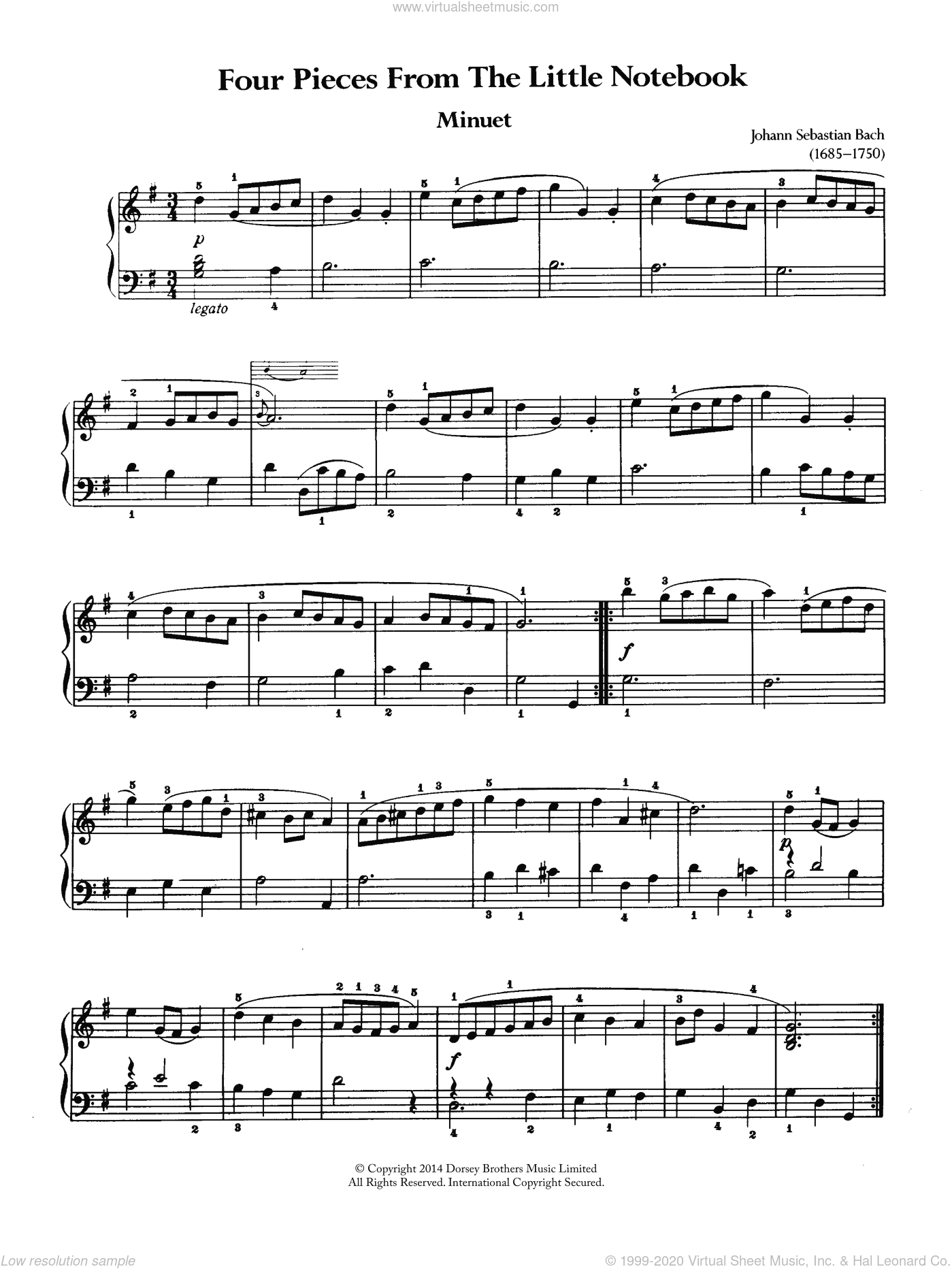 Four Pieces From The Little Notebook sheet music for piano solo by Johann Sebastian Bach, classical score, intermediate. Score Image Preview.