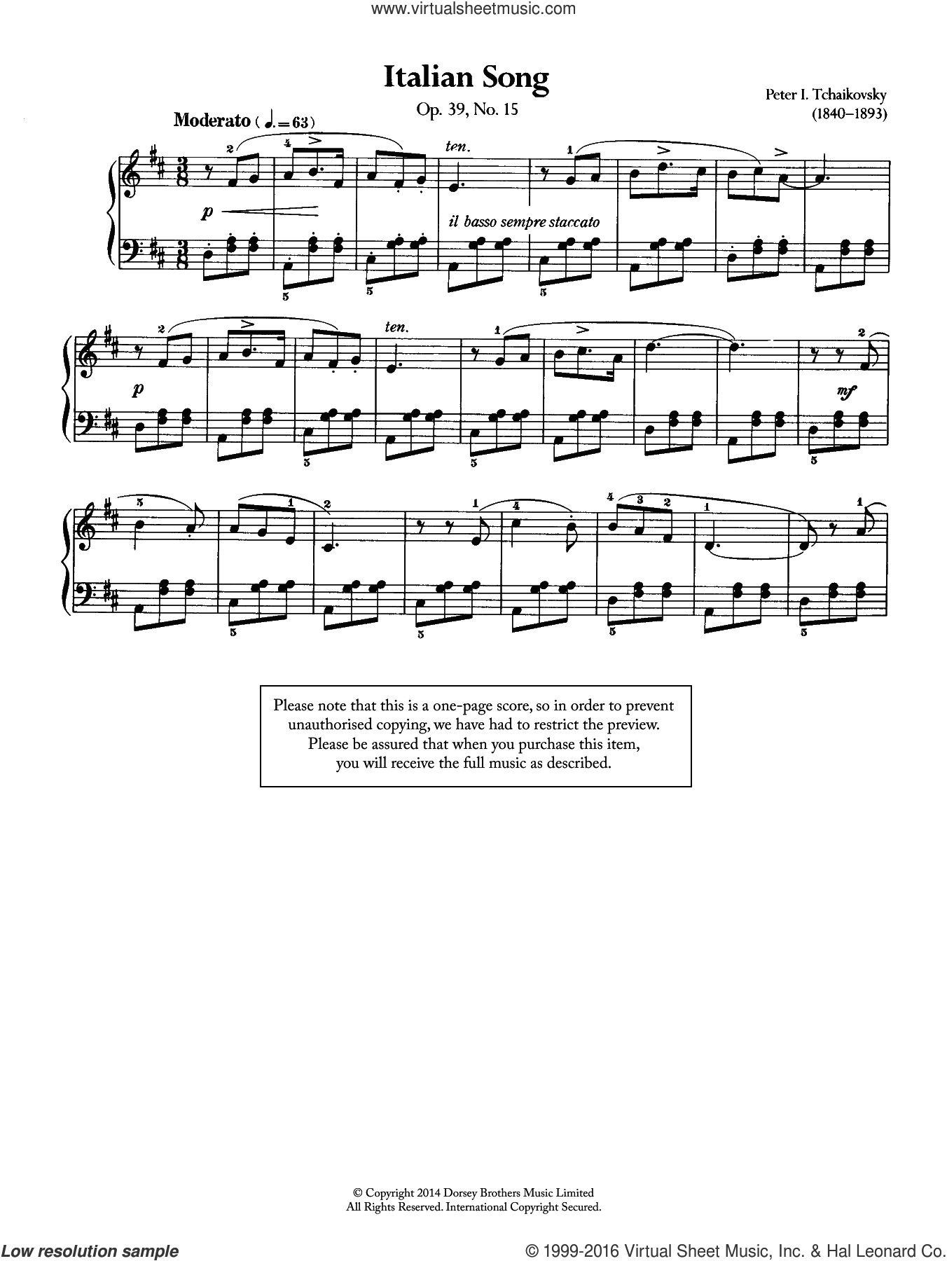 Italian Song, Op.39 No.15 sheet music for piano solo by Pyotr Ilyich Tchaikovsky, classical score, intermediate. Score Image Preview.