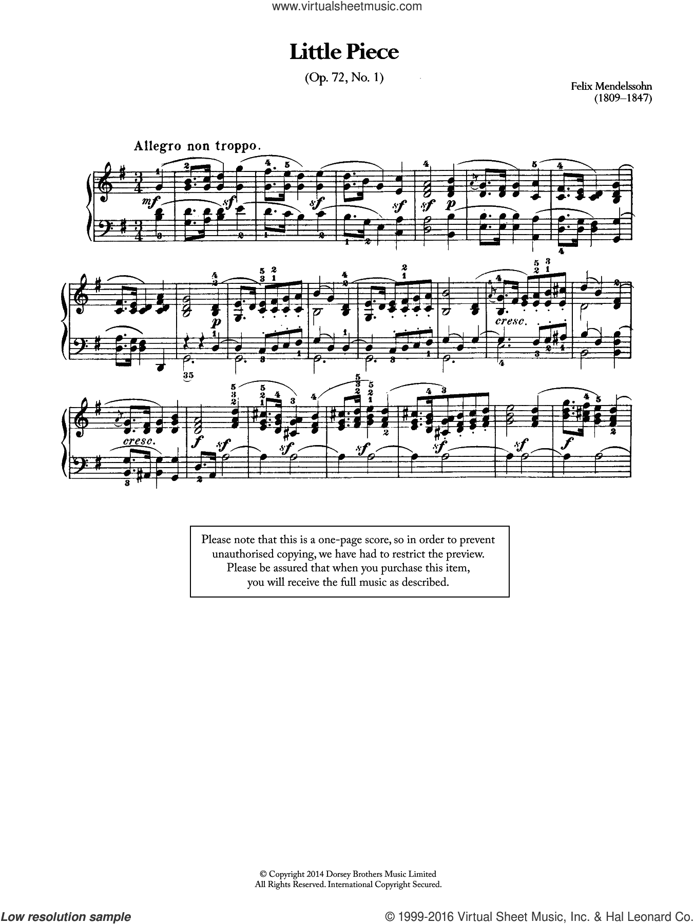 Little Piece, Op.72 No.1 sheet music for piano solo by Felix Mendelssohn-Bartholdy. Score Image Preview.