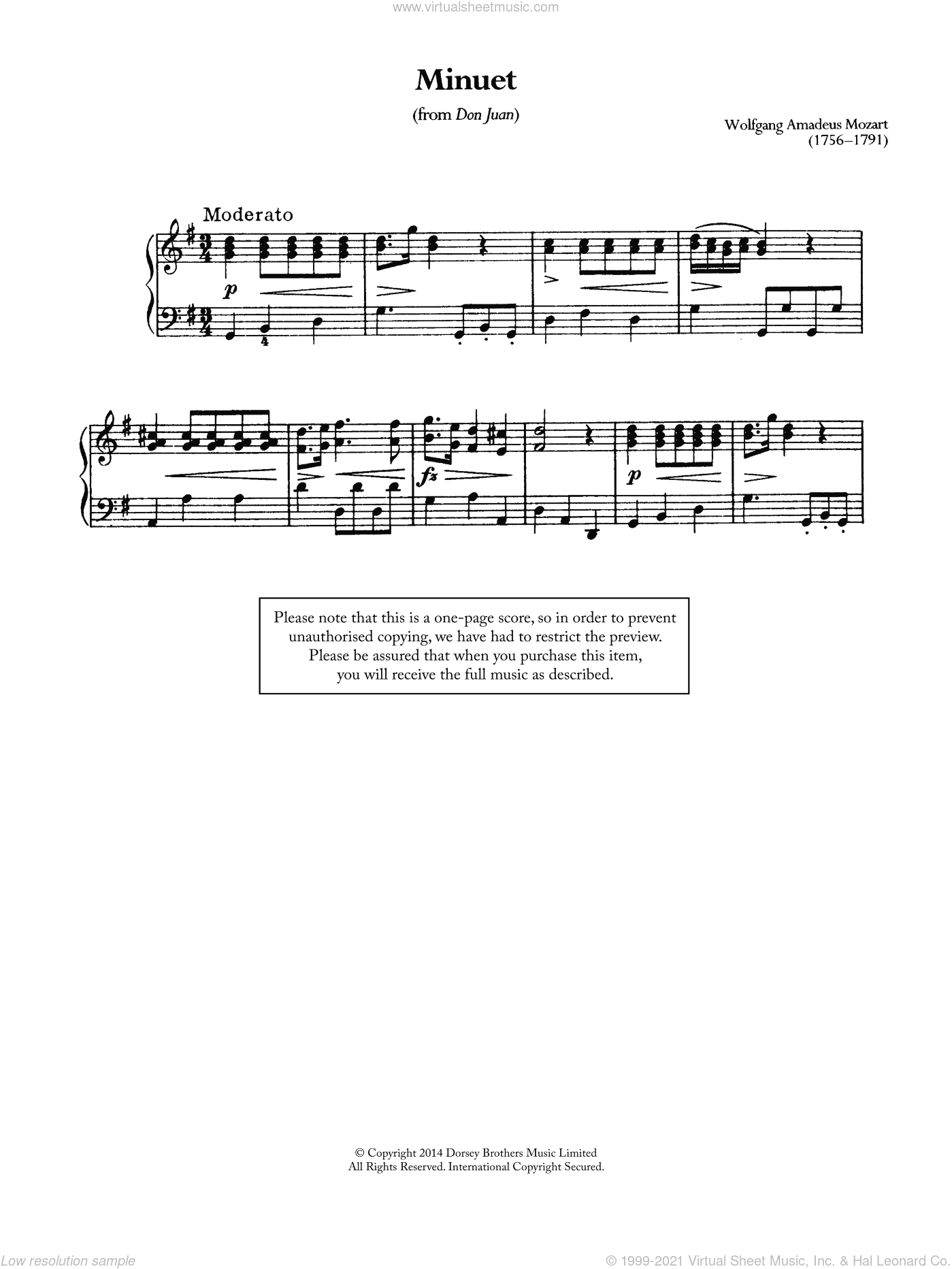 Minuet (From 'Don Juan') sheet music for piano solo by Wolfgang Amadeus Mozart