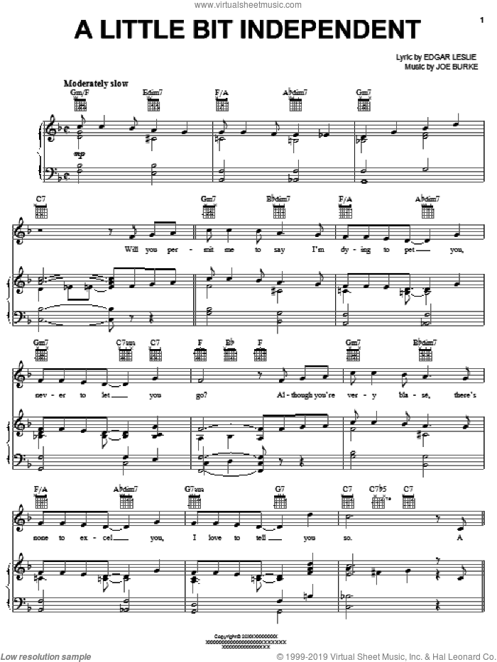 A Little Bit Independent sheet music for voice, piano or guitar by Edgar Leslie, Eddie Fisher, Thomas Waller and Joe Burke, intermediate skill level