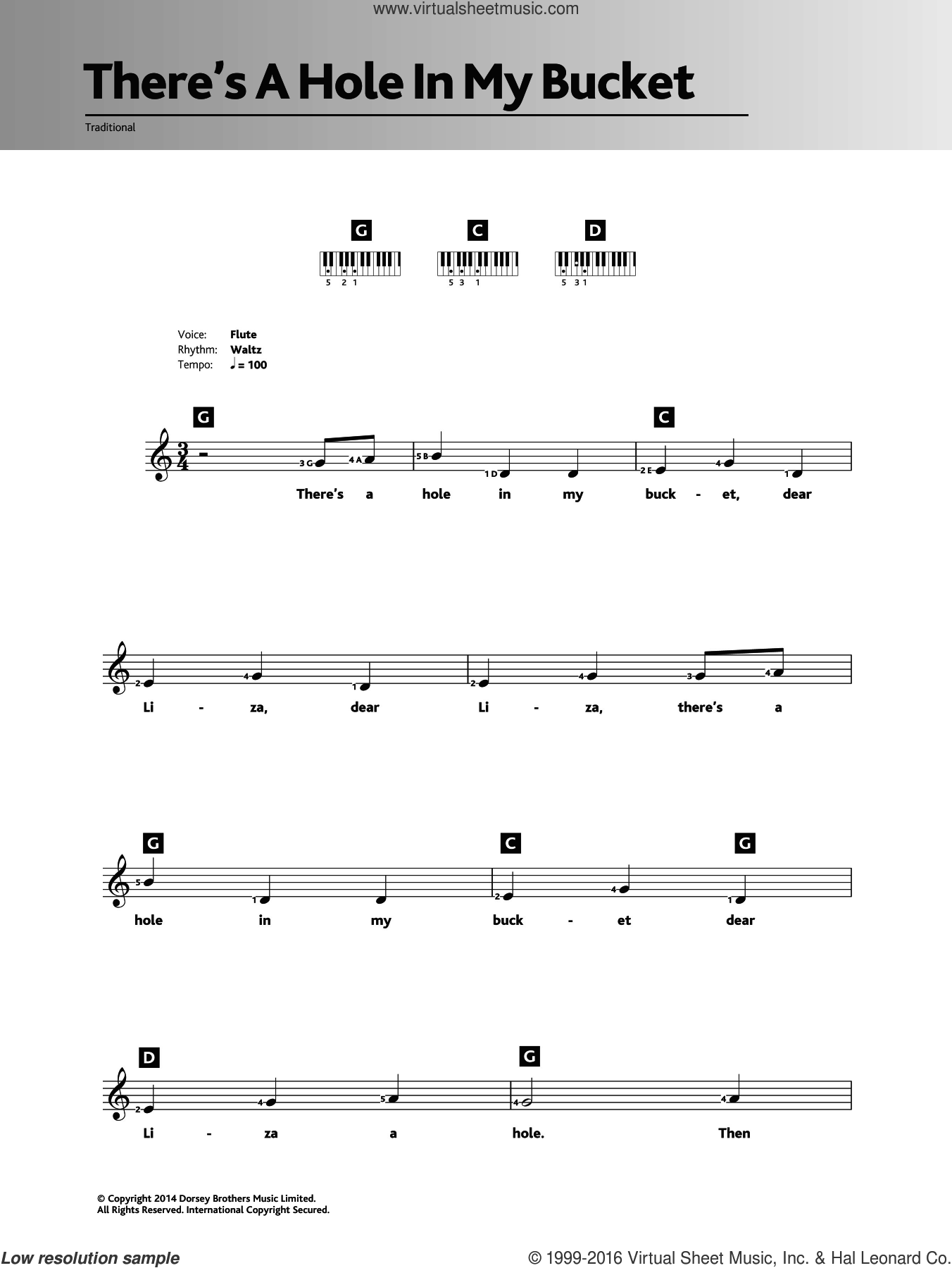 There's A Hole In My Bucket sheet music for piano solo (chords, lyrics, melody). Score Image Preview.