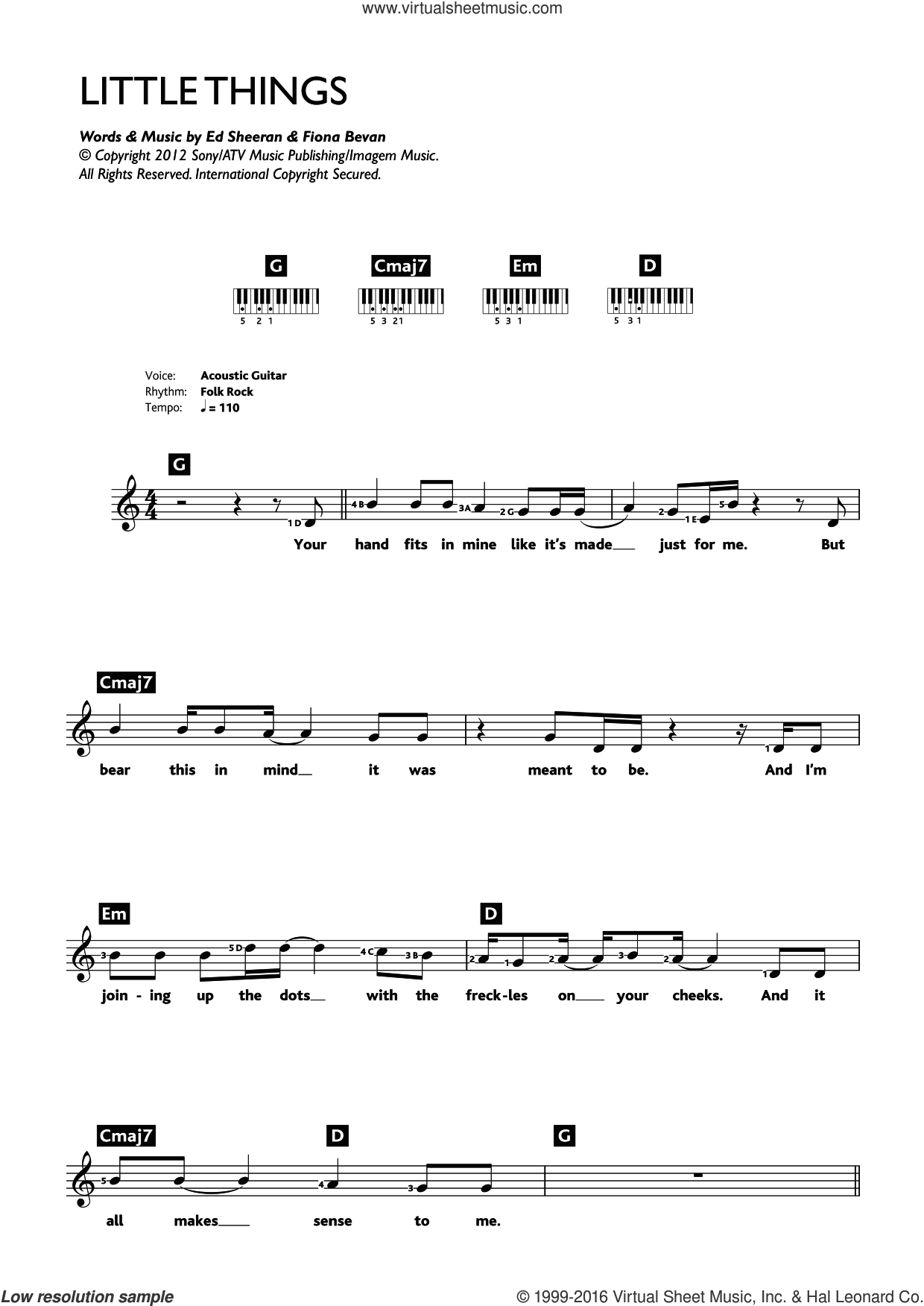 Little Things sheet music for piano solo (chords, lyrics, melody) by Ed Sheeran, One Direction and Fiona Bevan. Score Image Preview.