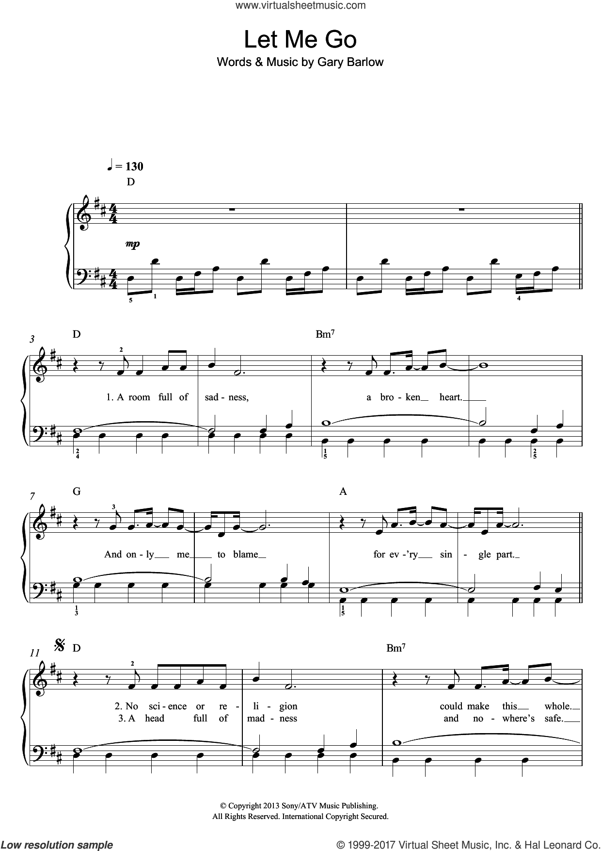 Let Me Go sheet music for piano solo by Gary Barlow, easy skill level