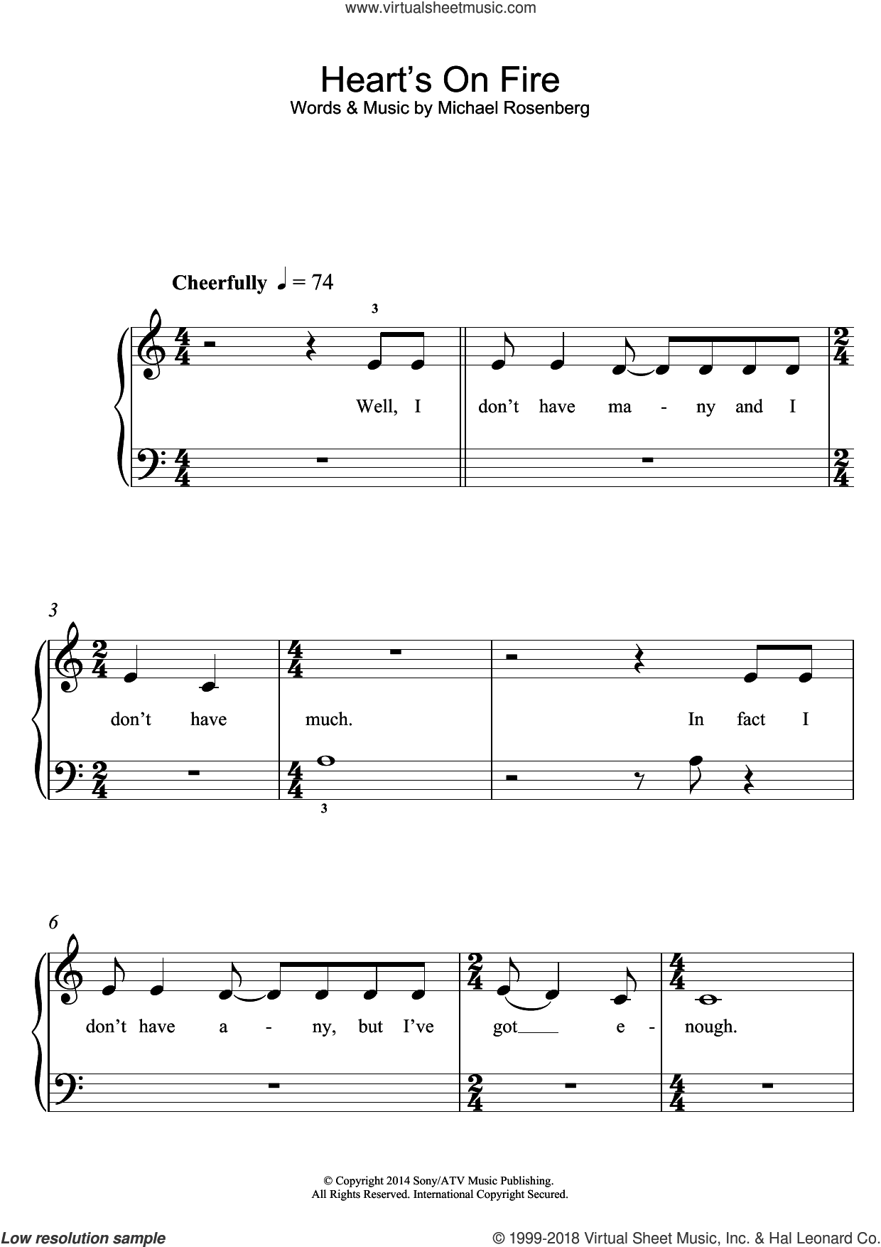 Heart's On Fire sheet music for piano solo by Passenger and Michael Rosenberg, easy skill level