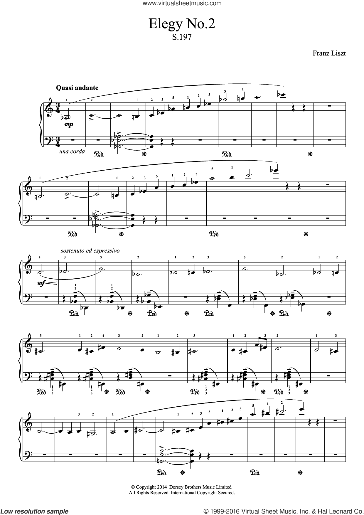 Elegy No.2 sheet music for piano solo by Franz Liszt. Score Image Preview.